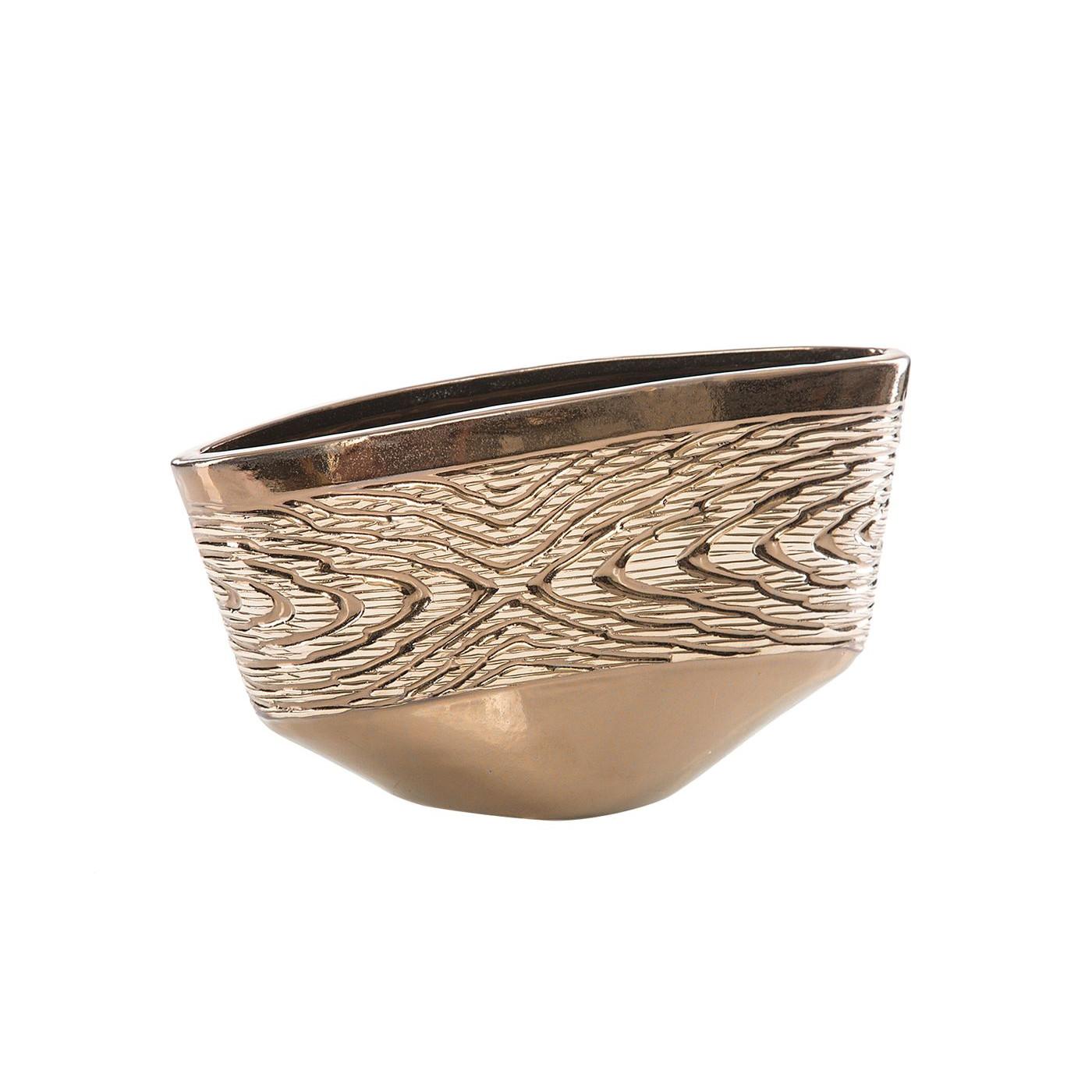 Wazon ceramiczny wytłaczany złoty 19 cm