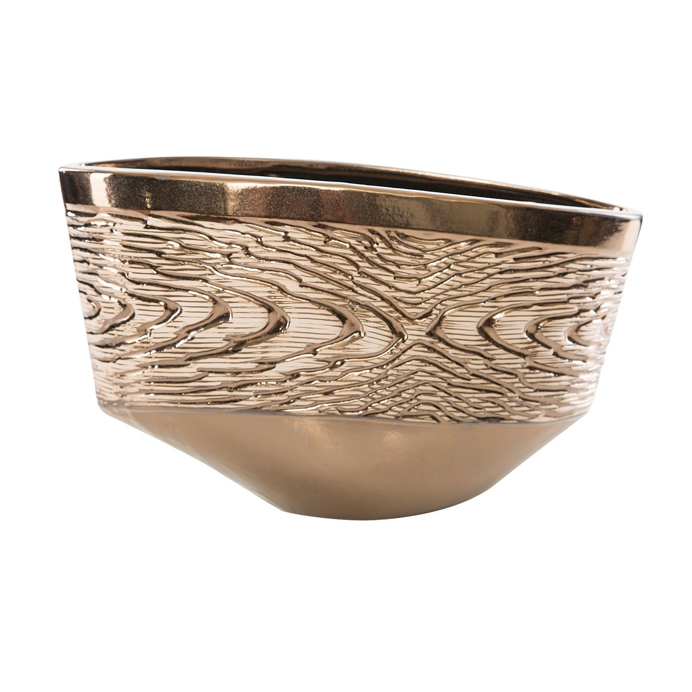 Wazon ceramiczny złoty struktura drewna 25 cm