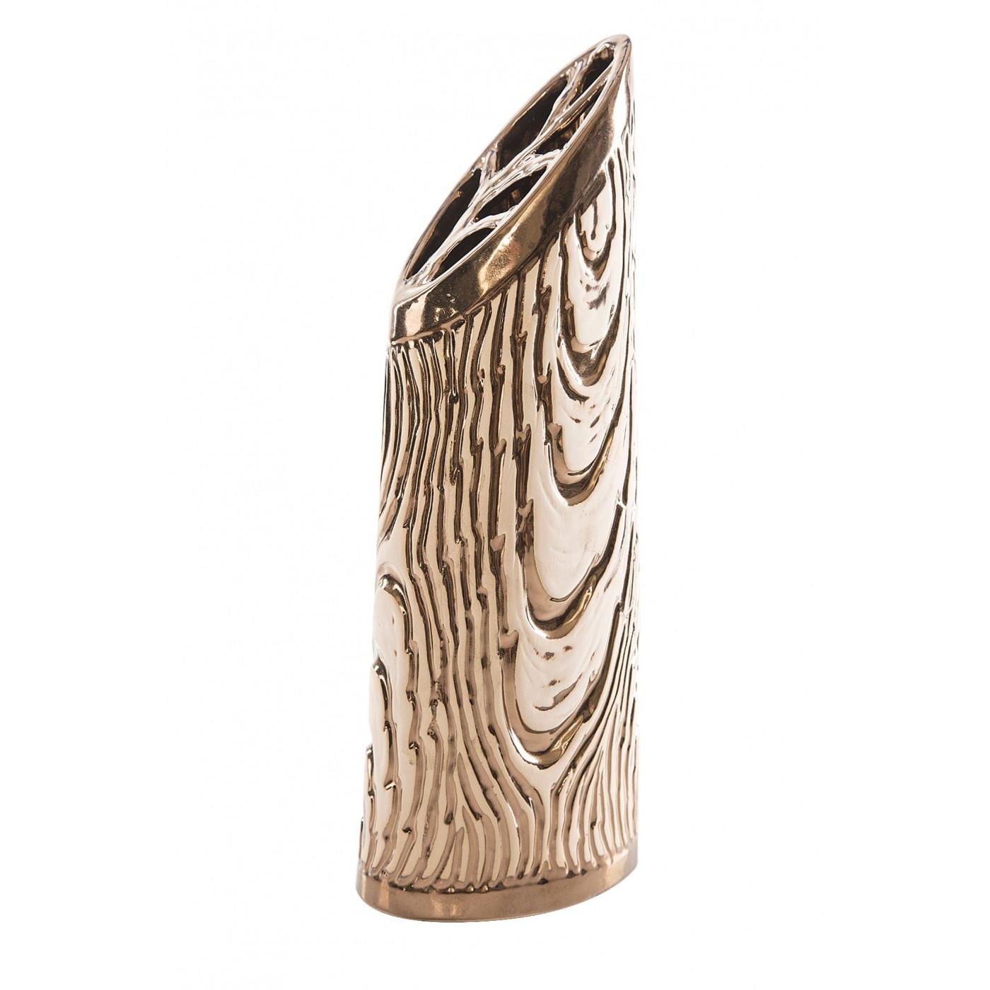 Wazon ceramiczny złoty struktura drewna 48 cm