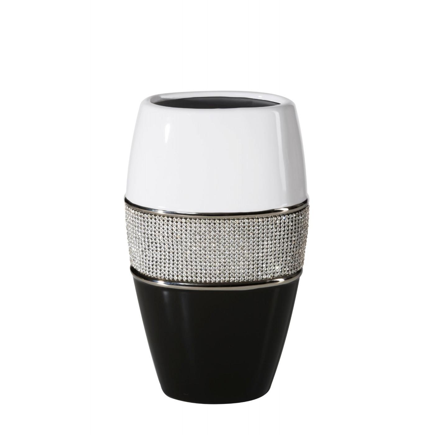 Świecznik ceramiczny biało-czarny z kryształkami glamou
