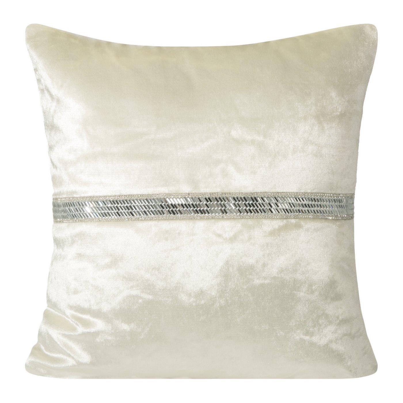 Poszewka na poduszkę kremowa ze srebrnym paskiem 40 x 40 cm