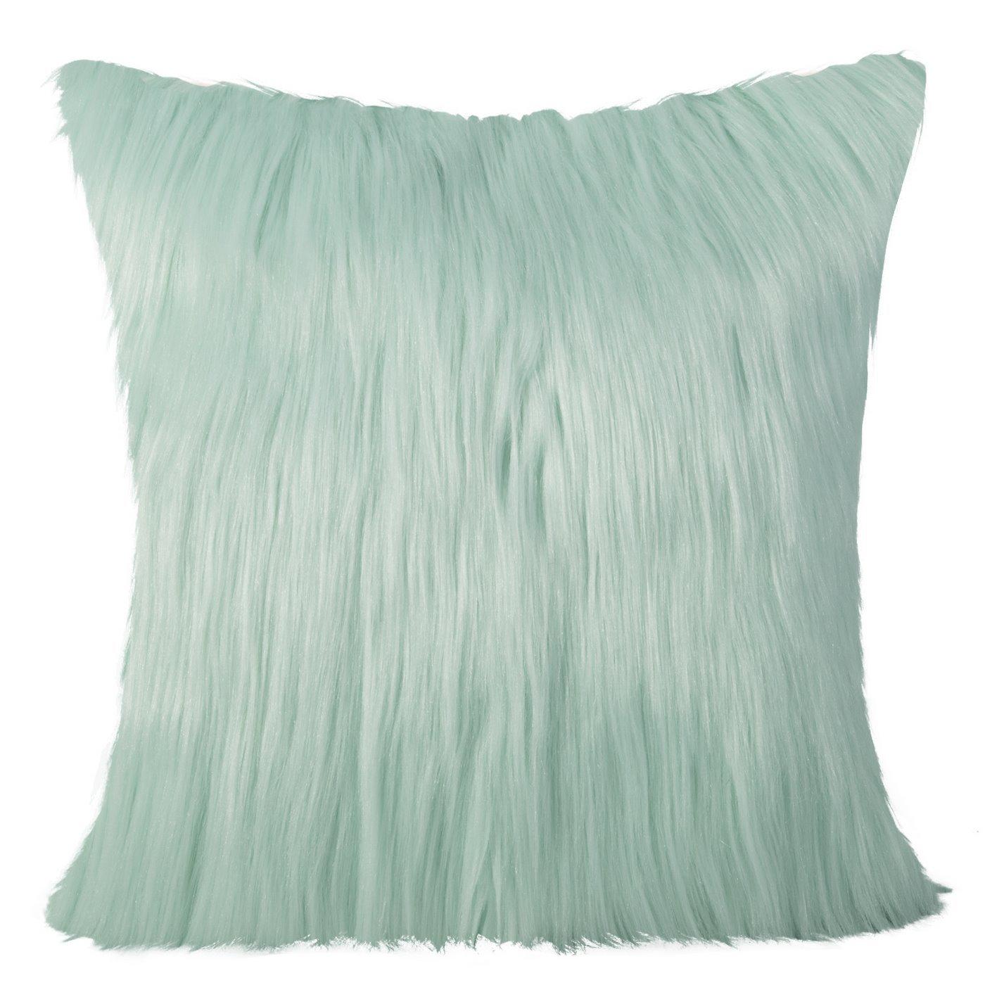 Poszewka na poduszkę miętowa długi włos 55 x 55 cm