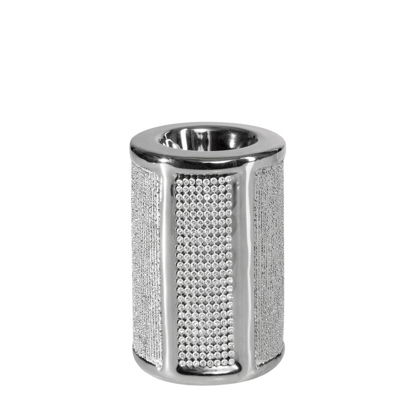Świecznik ceramiczny z pasem kryształów 10 cm