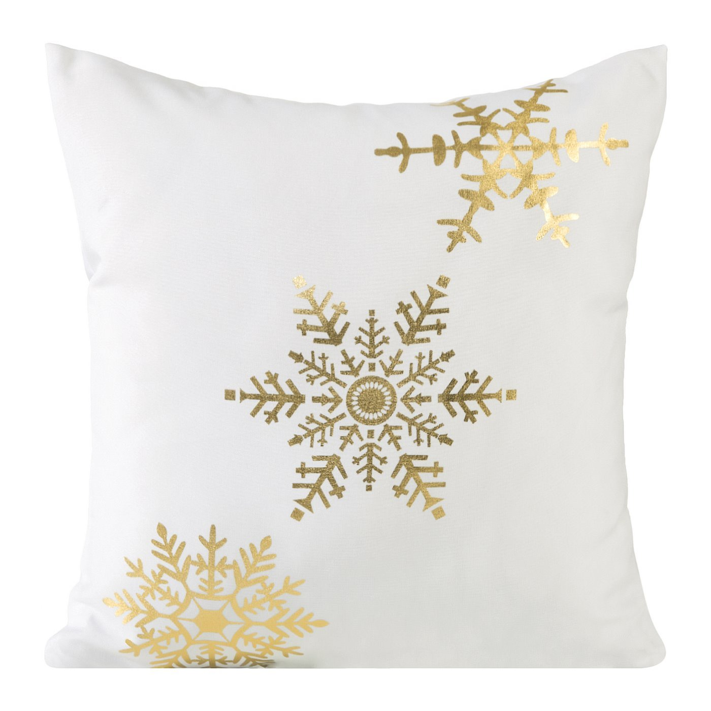 Poszewka na poduszkę biało złota płatek śniegu 40 x 40 cm