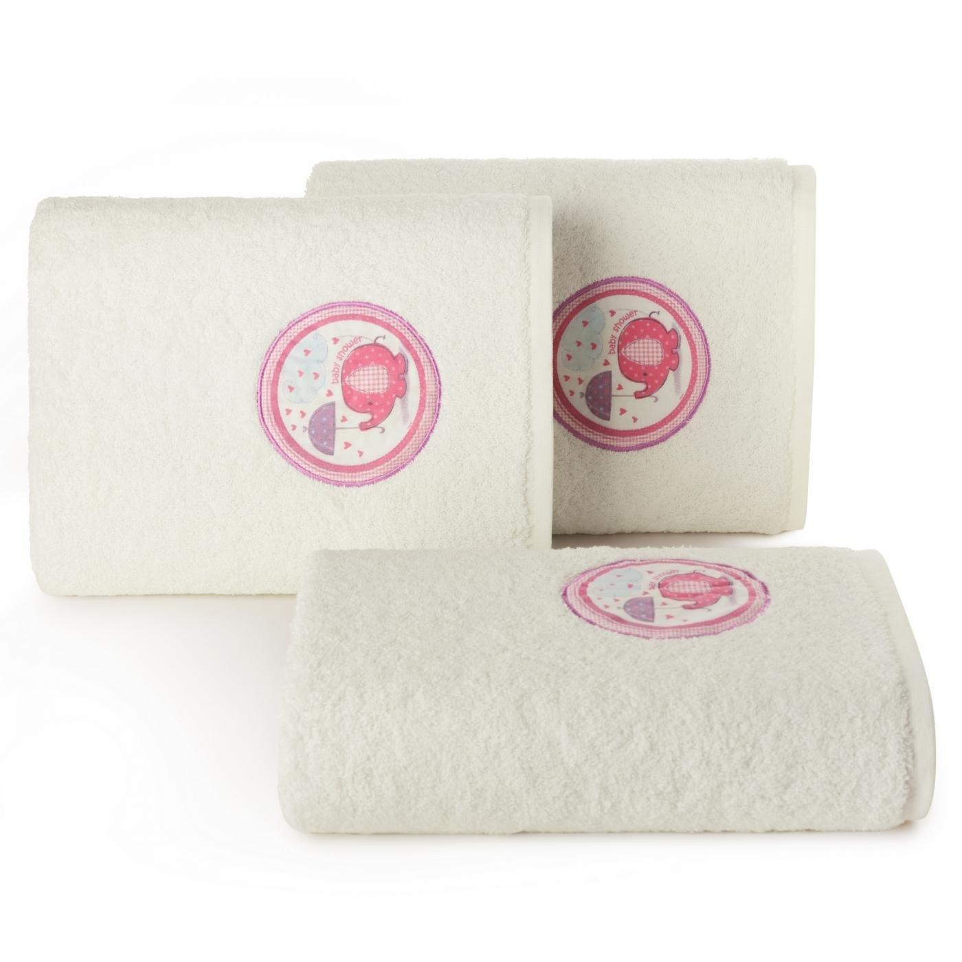 Ręcznik dziecięcy z aplikacją z różowym słonikiem baby shower 70x140cm