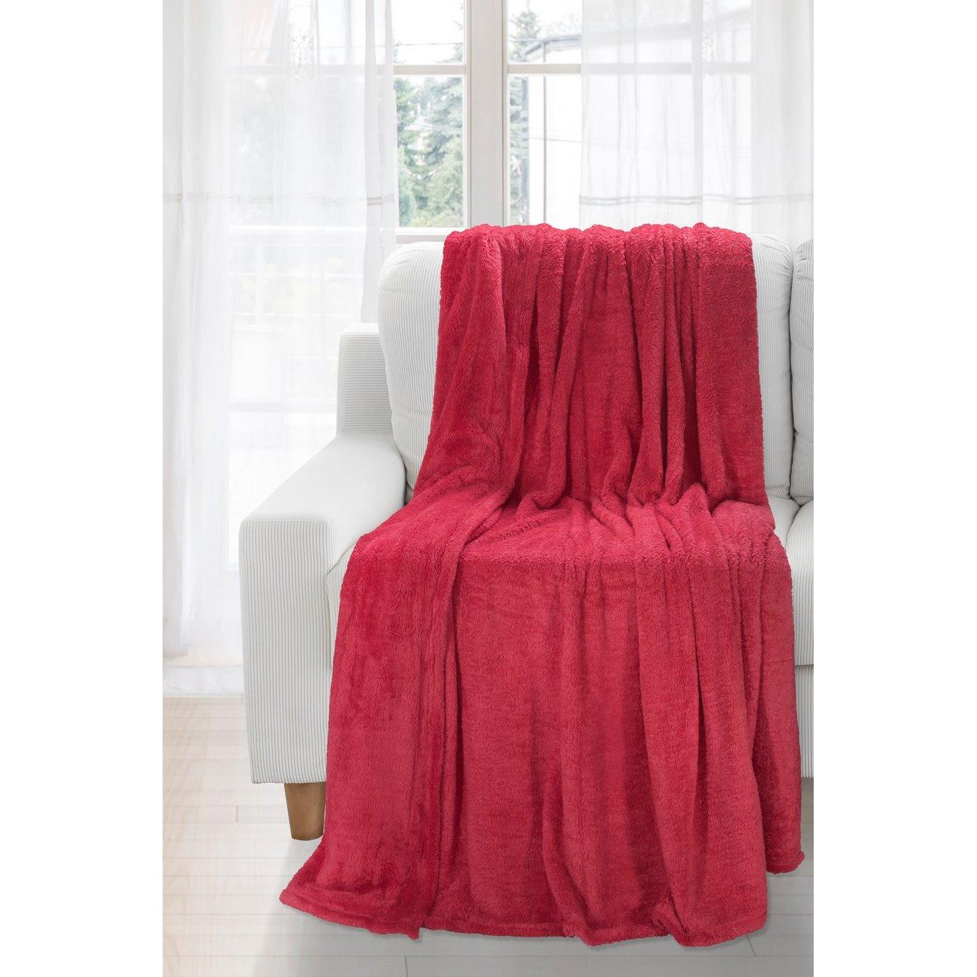 Koc miękki jednokolorowy czerwony 150x200cm