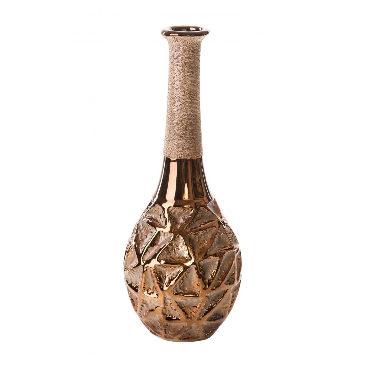 Wazon ceramiczny wytłaczany miedziany 40 cm glamour