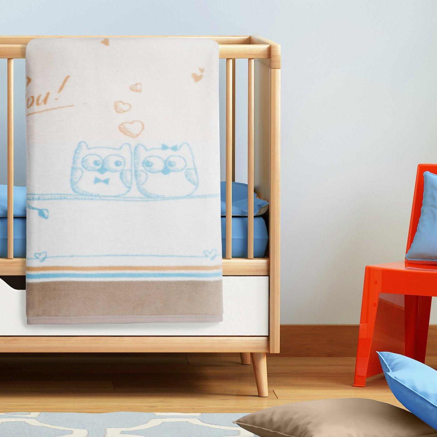 Koc dziecięcy sowy niebiesko-kremowy 100 x 120 cm