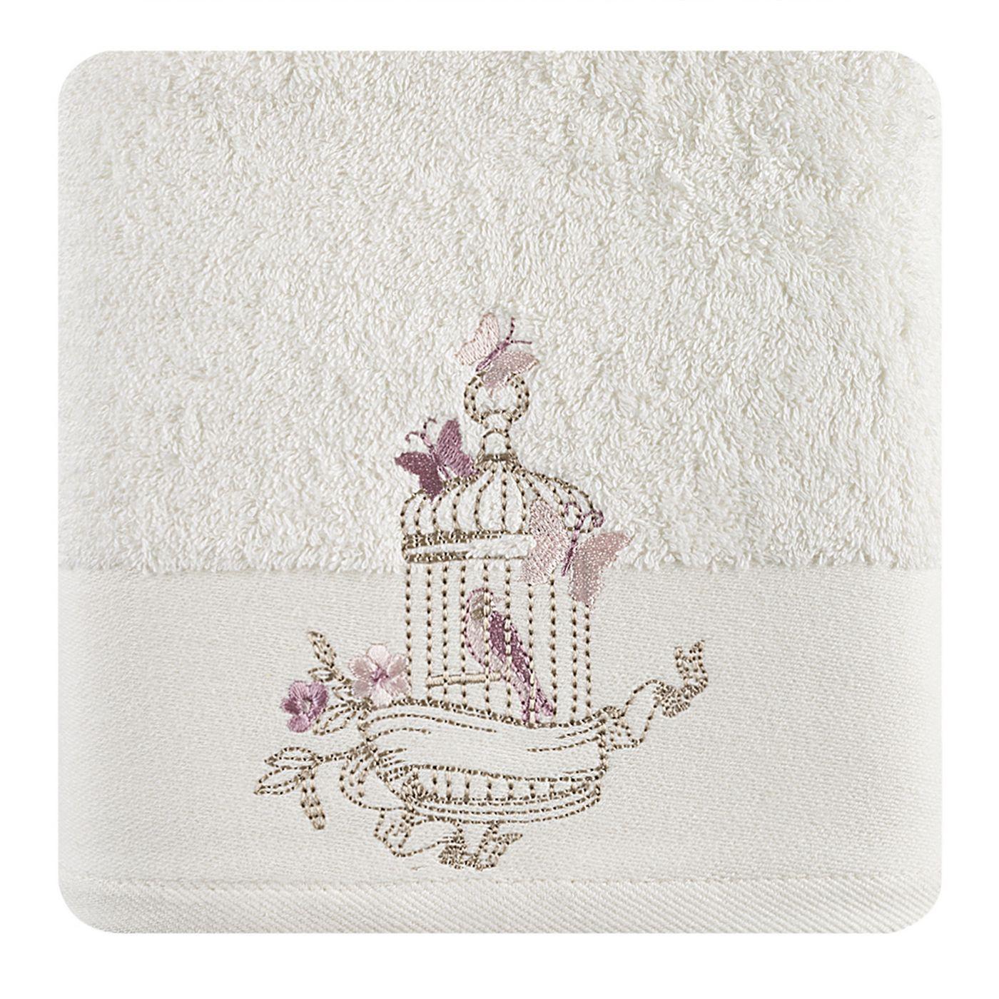 Ręcznik haftowany ptaszki w klatce kremowy 70x140cm