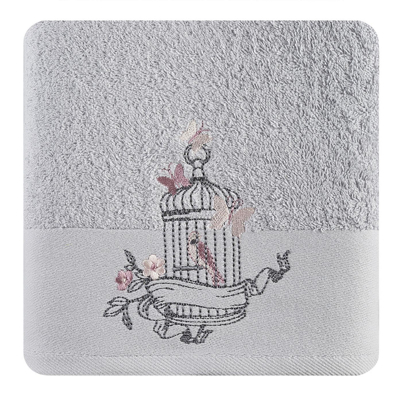 Ręcznik haftowany ptaszki w klatce popielaty 70x140cm