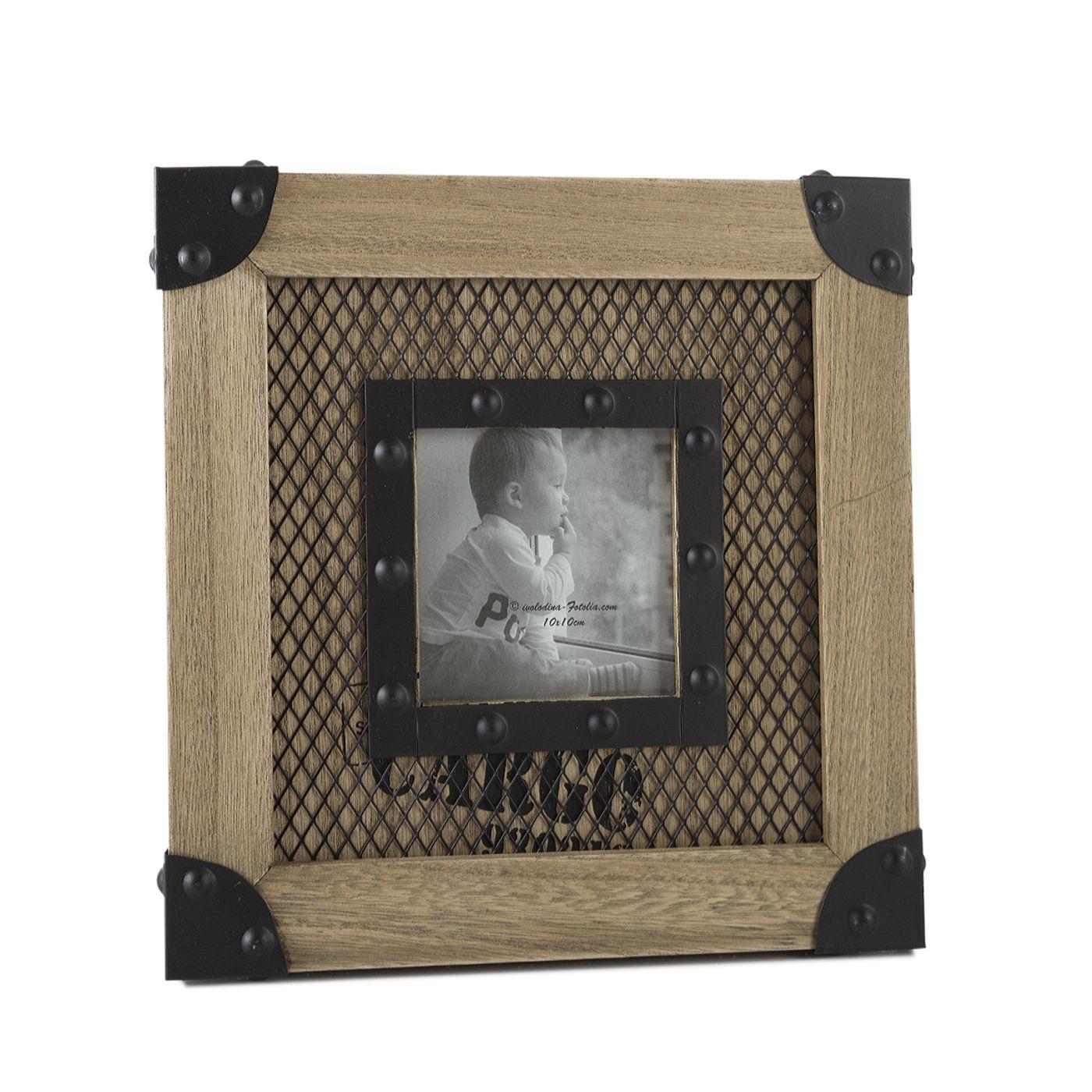 Ramka z drewna i metalu 26 x 26 x 2 cm