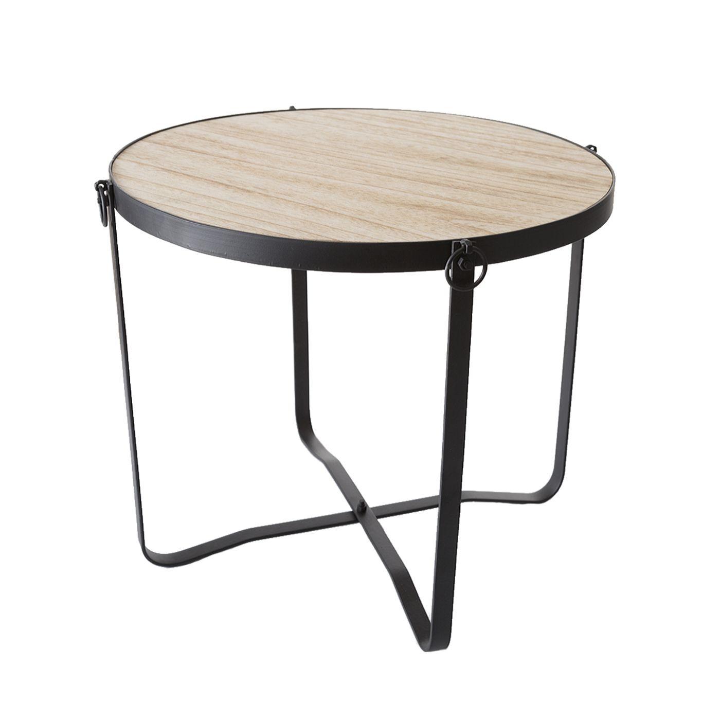 Stolik drewno metal kawowy 46 x 40 cm