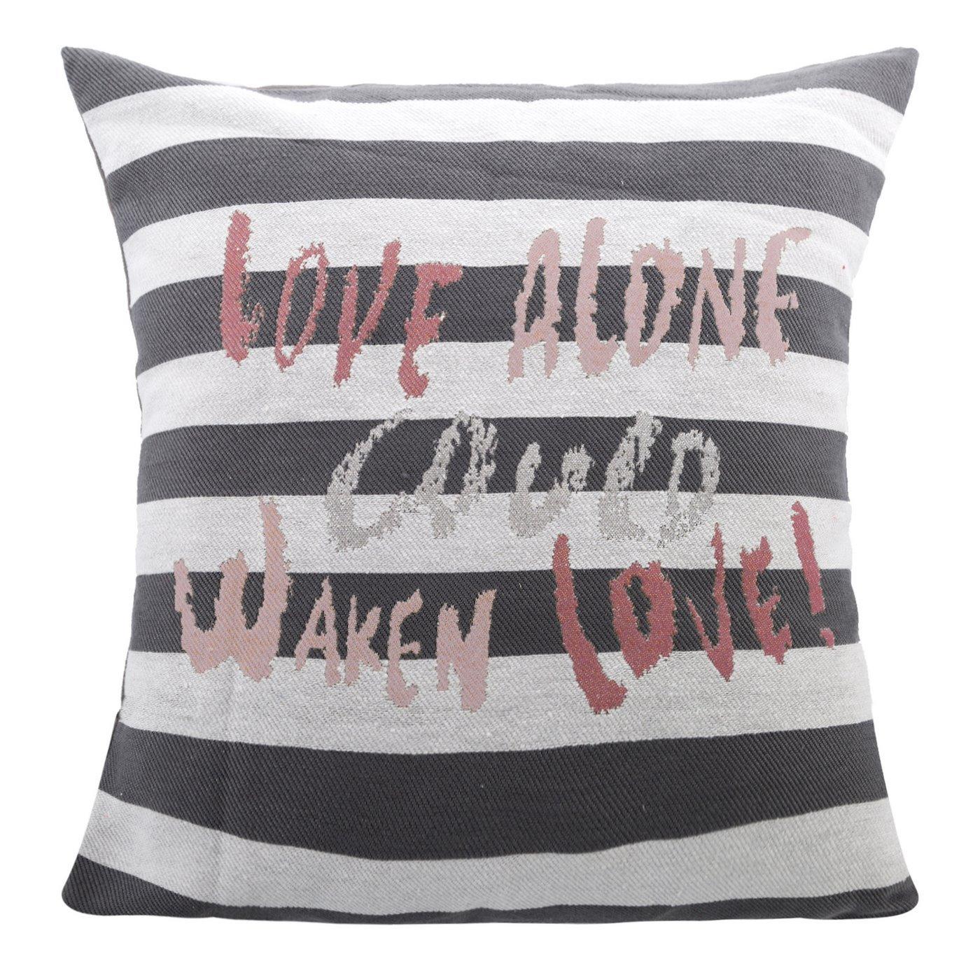 Poszewka na poduszkę love 40 x 40 cm biało szaro czerwona