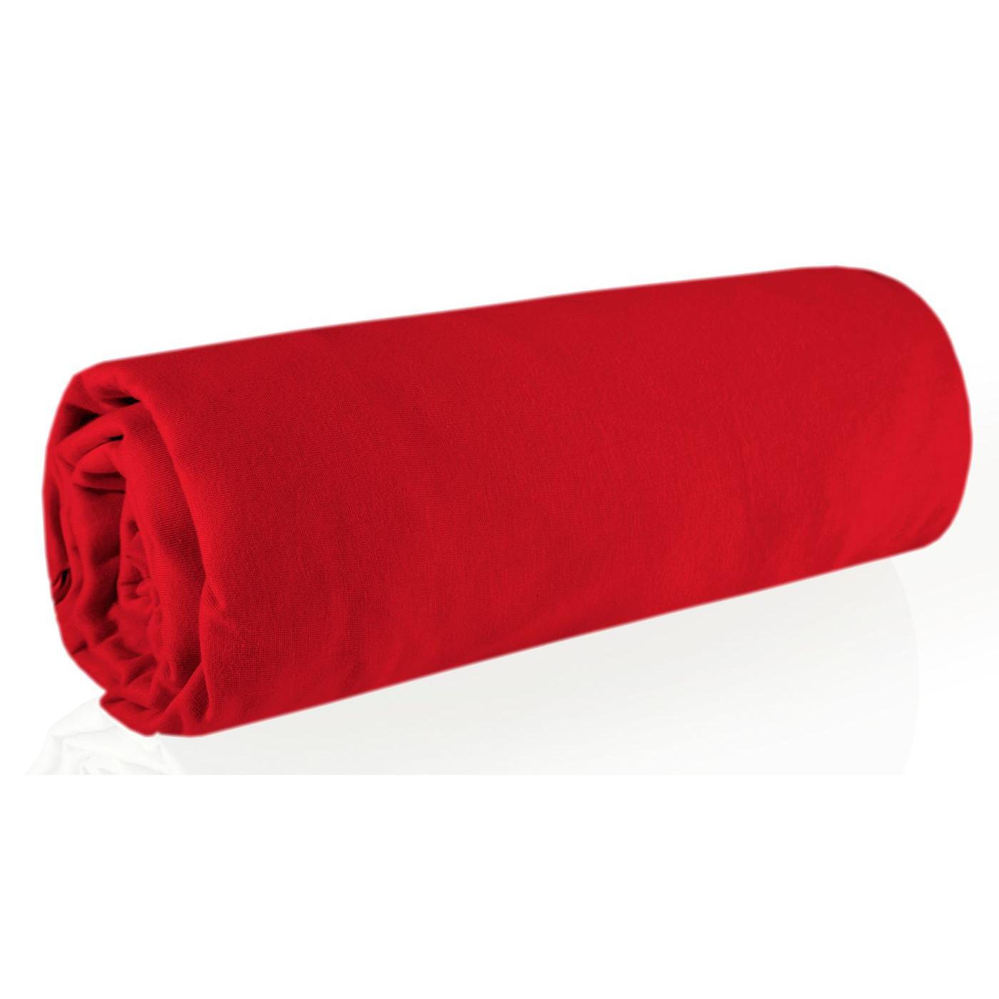 Prześcieradło gładkie z gumką bawełna jersey czerwone 220x200+30cm