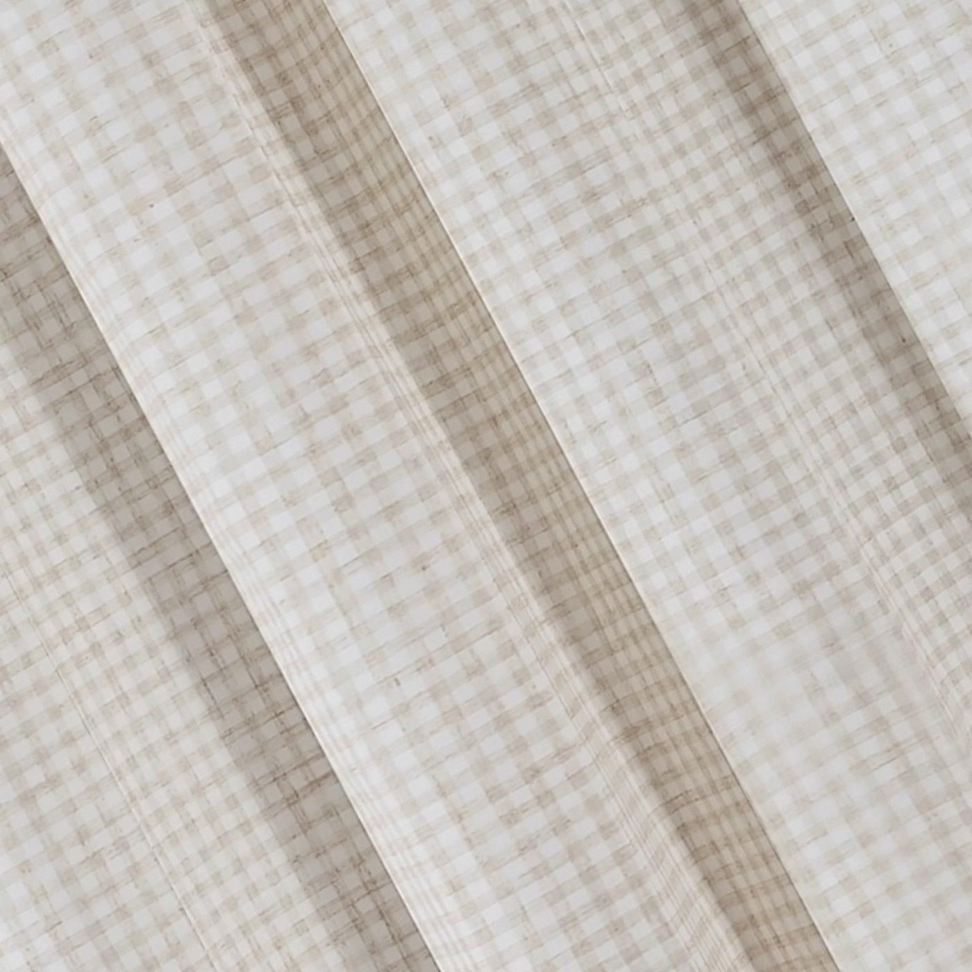 Zasłona w rustykalnym stylu krateczka+aplikacja beżowa szelki 140x250cm