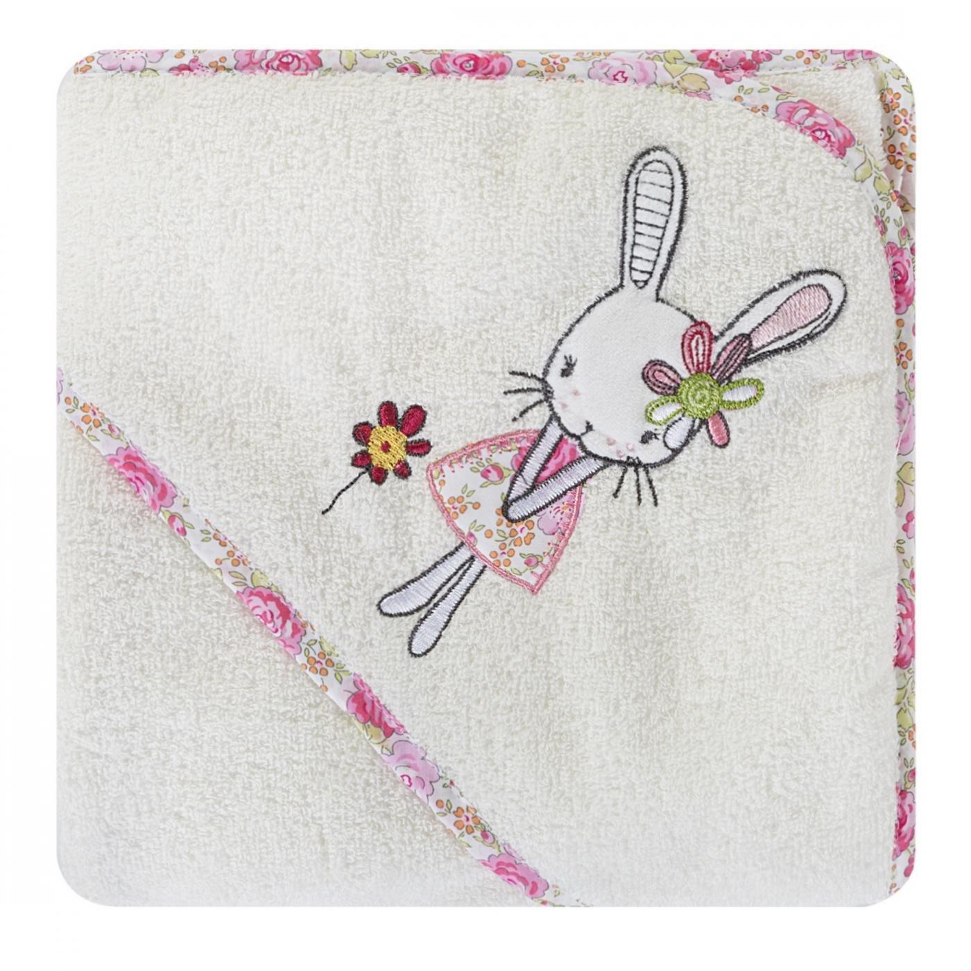 Dziecięcy ręcznik kąpielowy z kapturem króliczek 75x75 cm