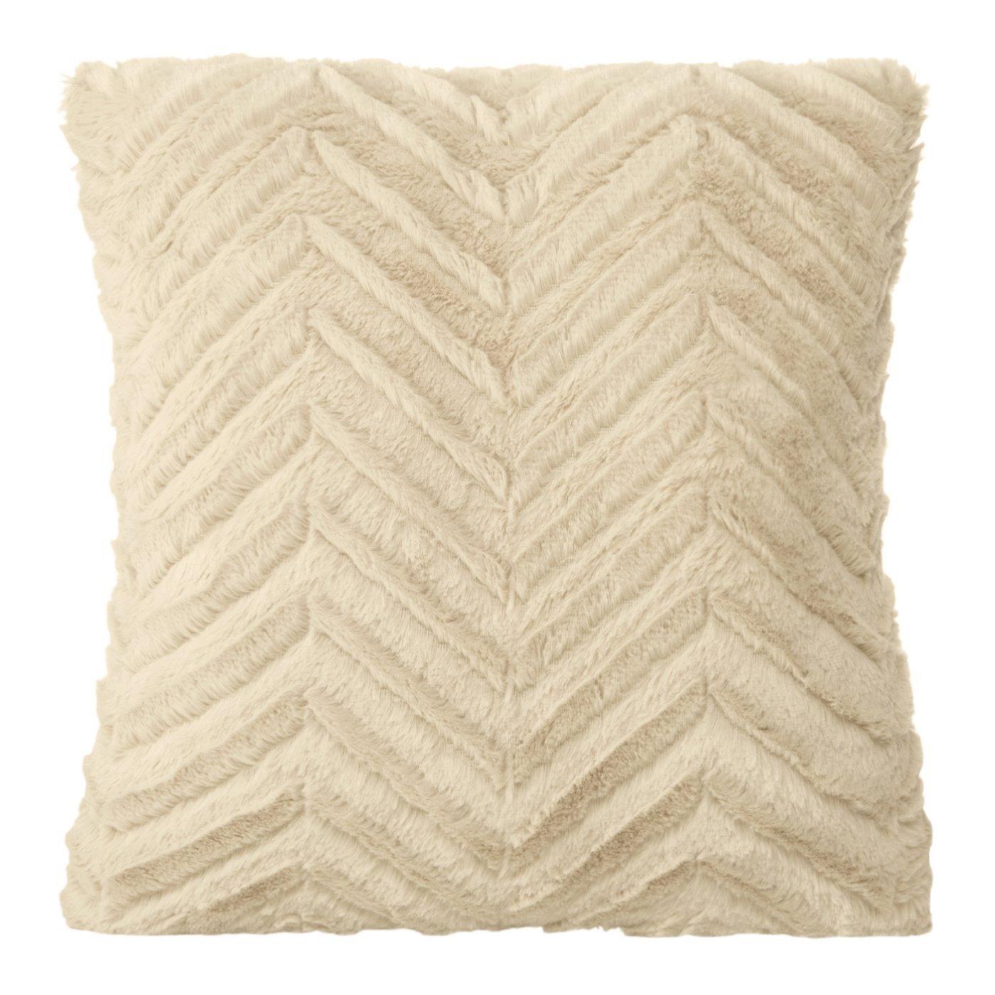 Poszewka na poduszkę 40 x 40 cm beżowa zygzag
