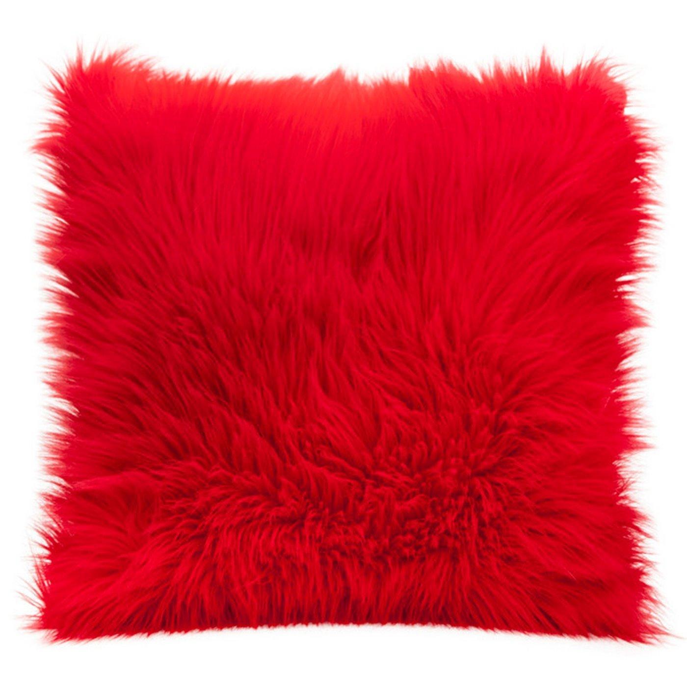Poszewka na poduszkę miękkie futerko 45 x 45 cm czerwona