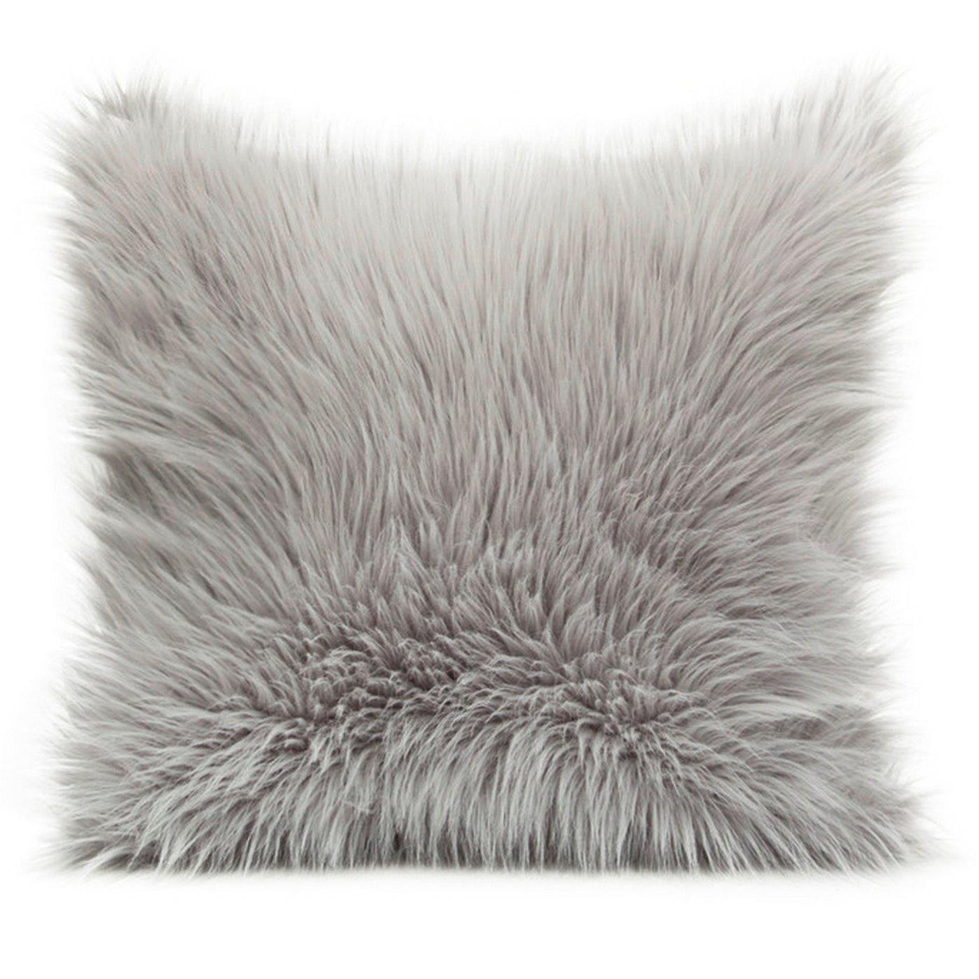 Poszewka na poduszkę miękkie futerko 45 x 45 cm szara/stalowa