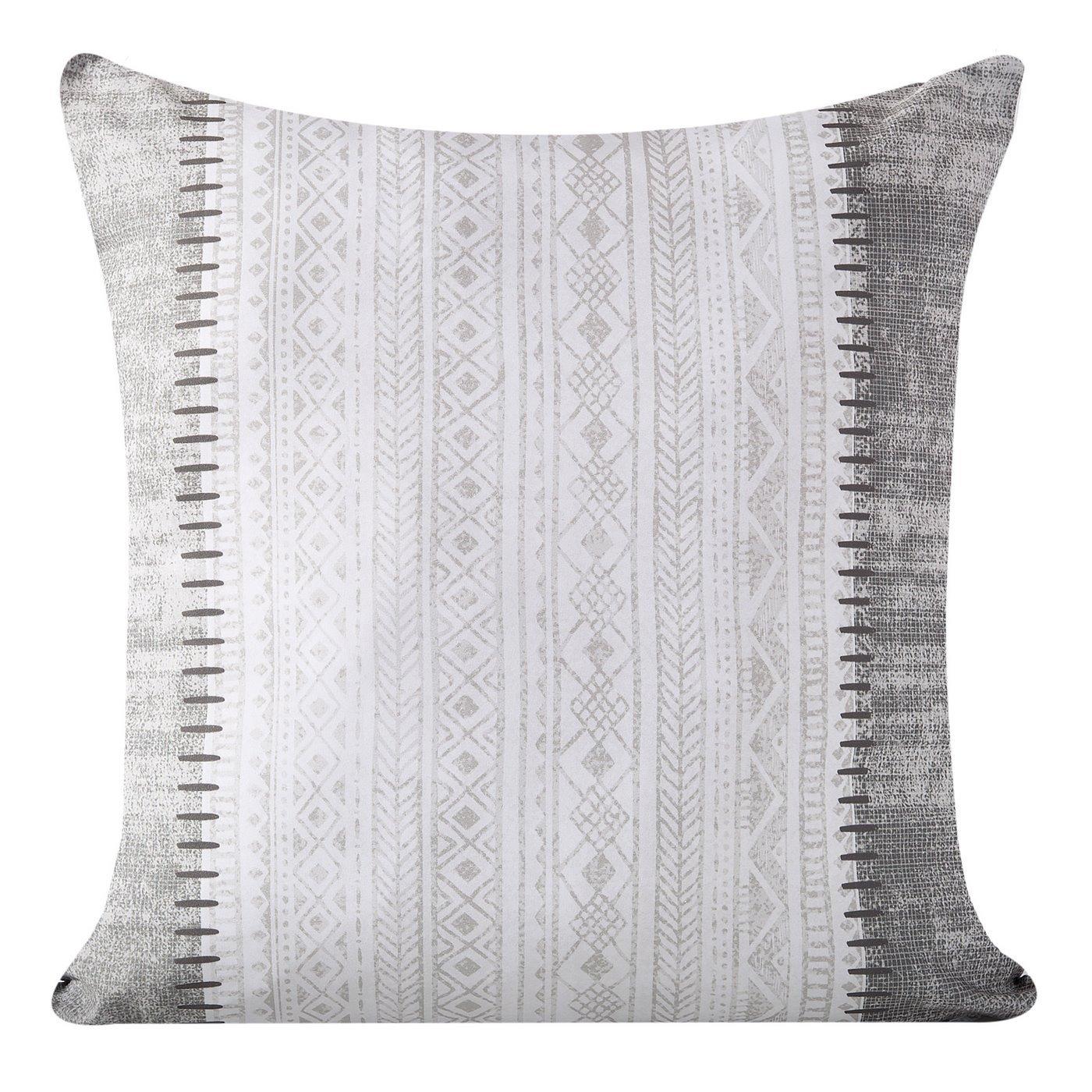 Poszewka dekoracyjna na poduszkę 45 x 45 kolor popielaty/biały