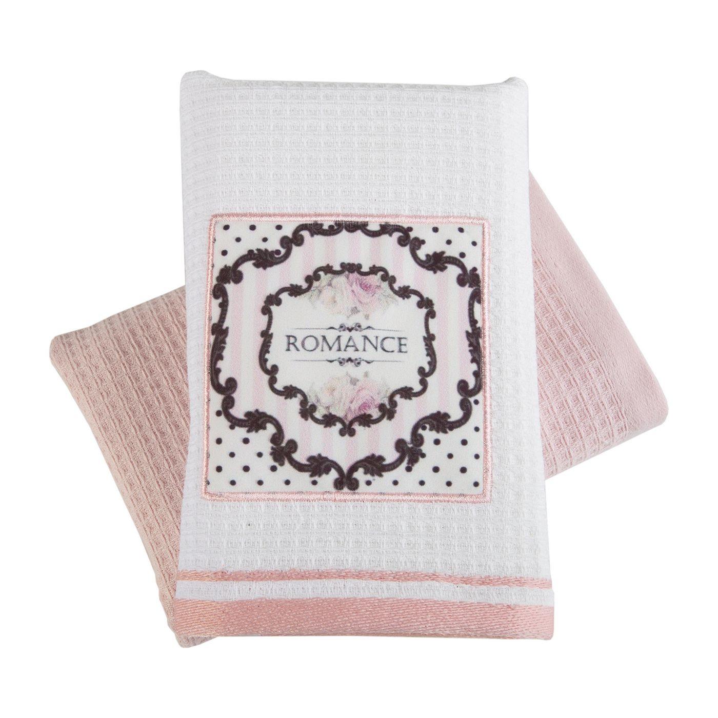 Ręczniki kichenne ariana biały=różowy komplet 2szt