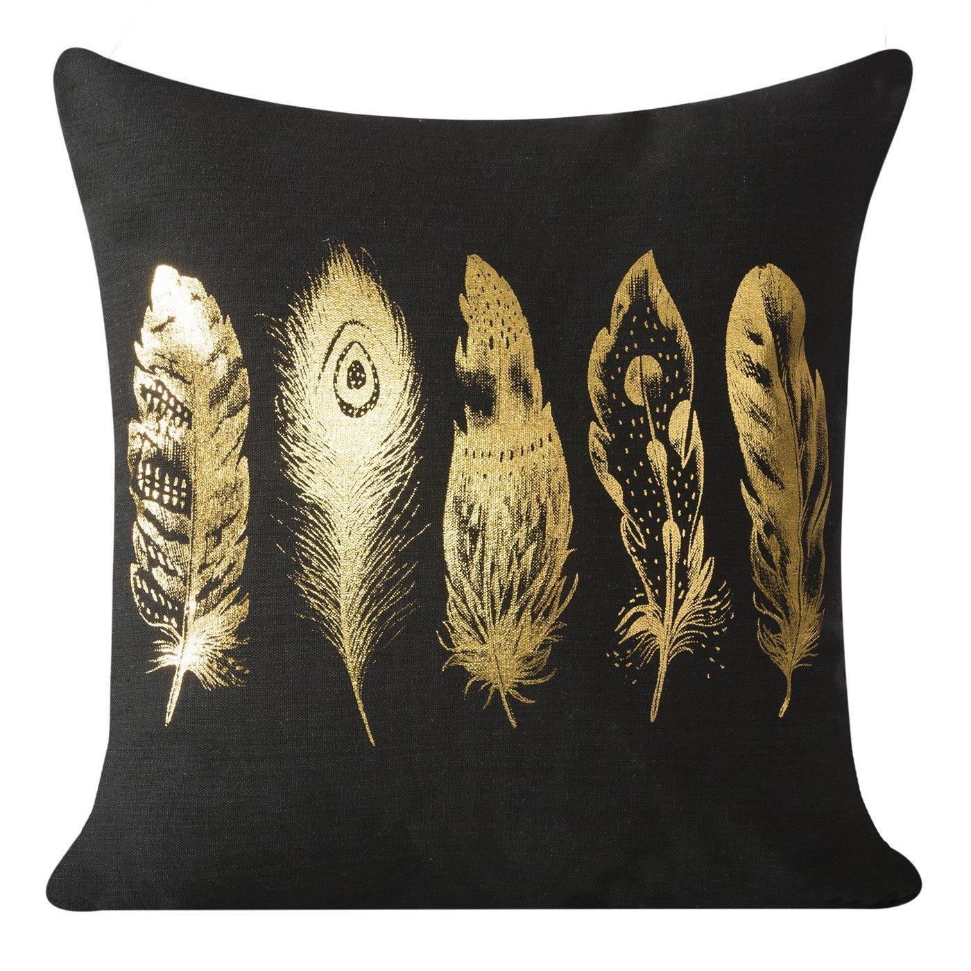 Poszewka na poduszkę 40 x 40 cm pióra czarno złota
