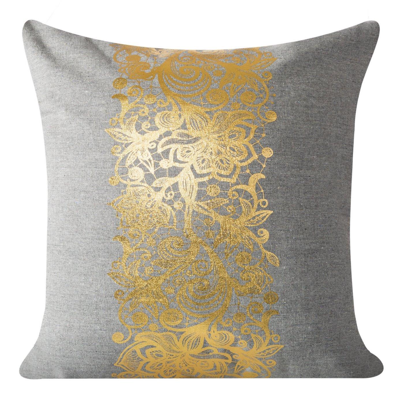 Poszewka na poduszkę szaro złota 40 x 40 cm