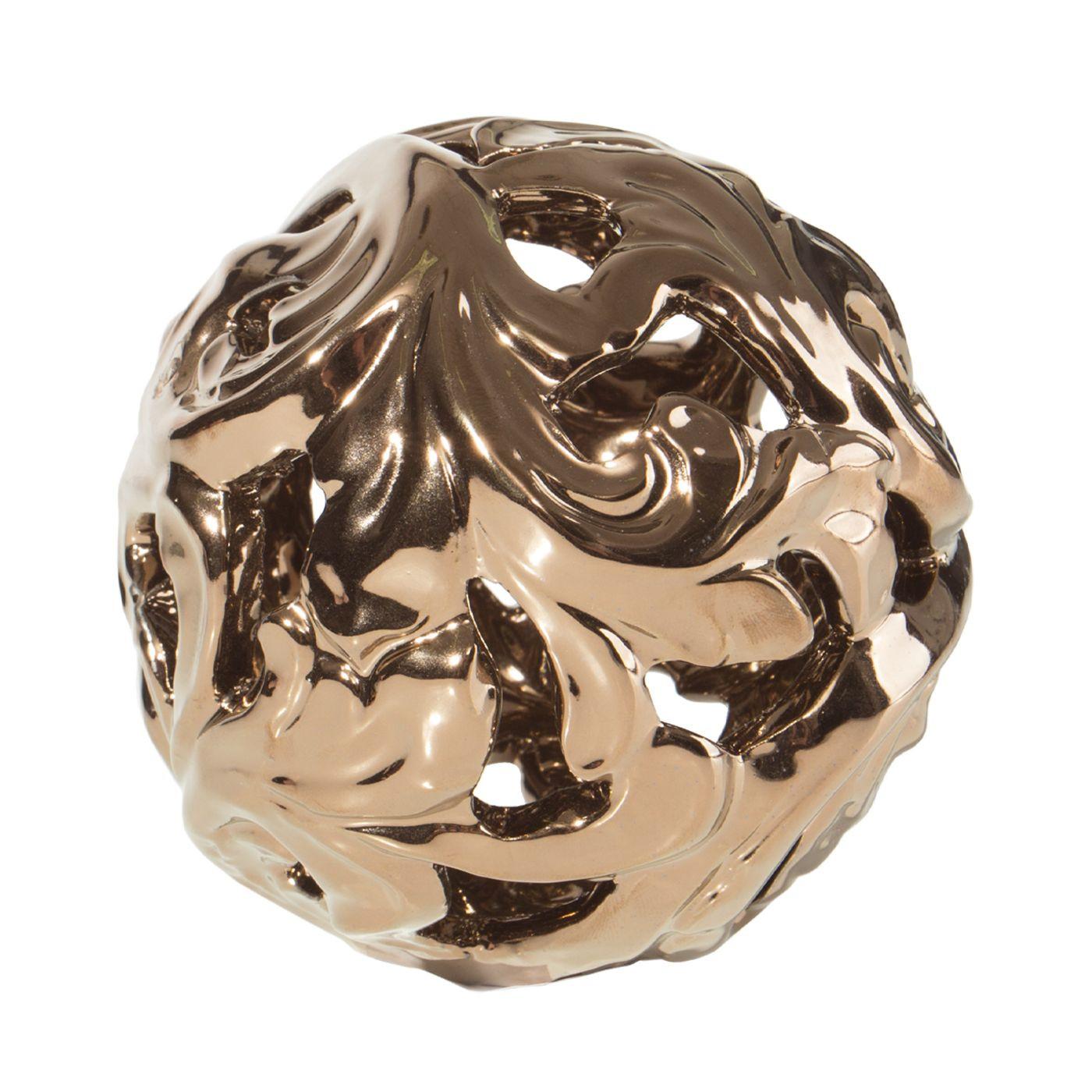 Kula ceramiczna ażurowa stare złoto 11 cm