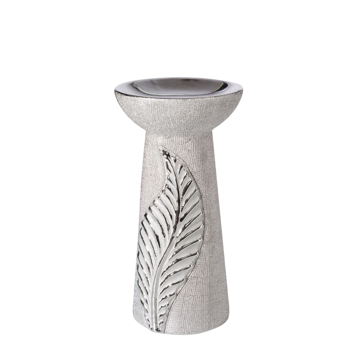 Świecznik ceramiczny z wytłaczanym liściem 20 cm