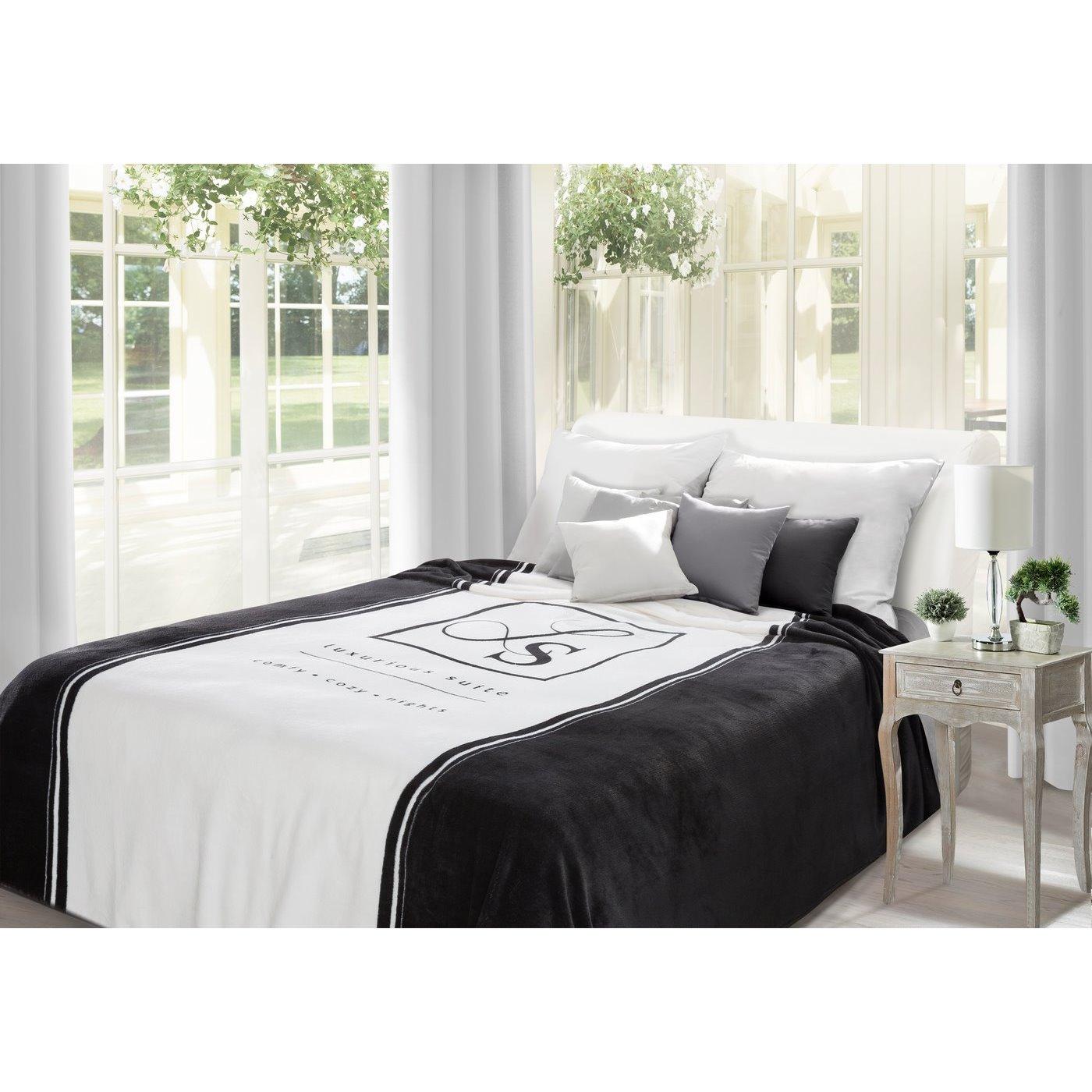 Duży koc z eleganckim czarno-biały nadrukiem 220x240