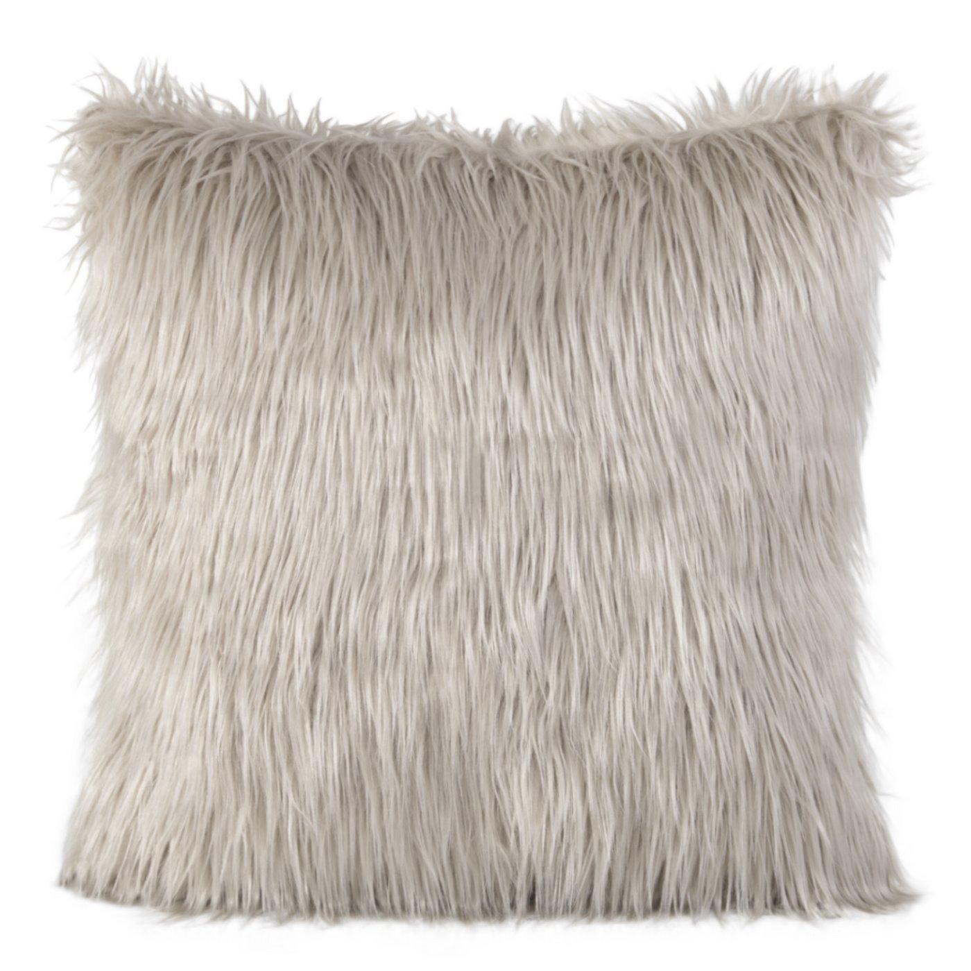 Poszewka na poduszkę miękkie futerko 45 x 45 cm beżowa