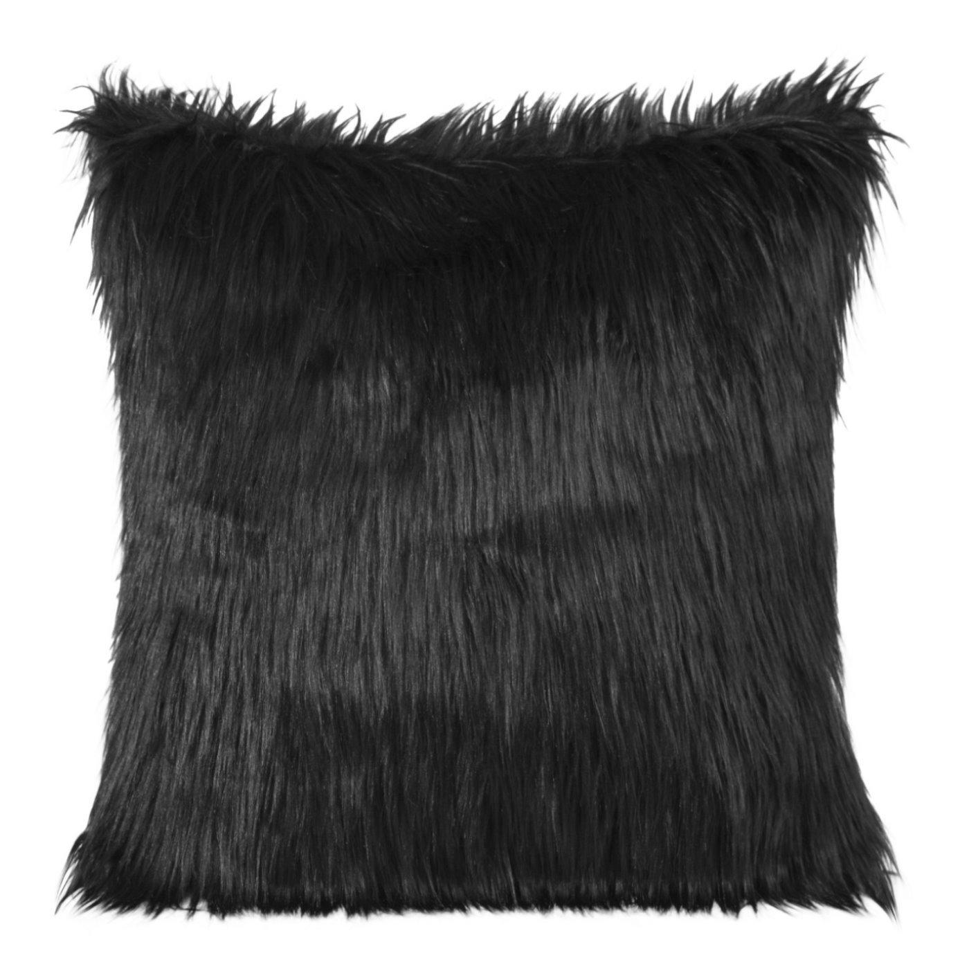 Poszewka na poduszkę miękkie futerko 45 x 45 cm czarna