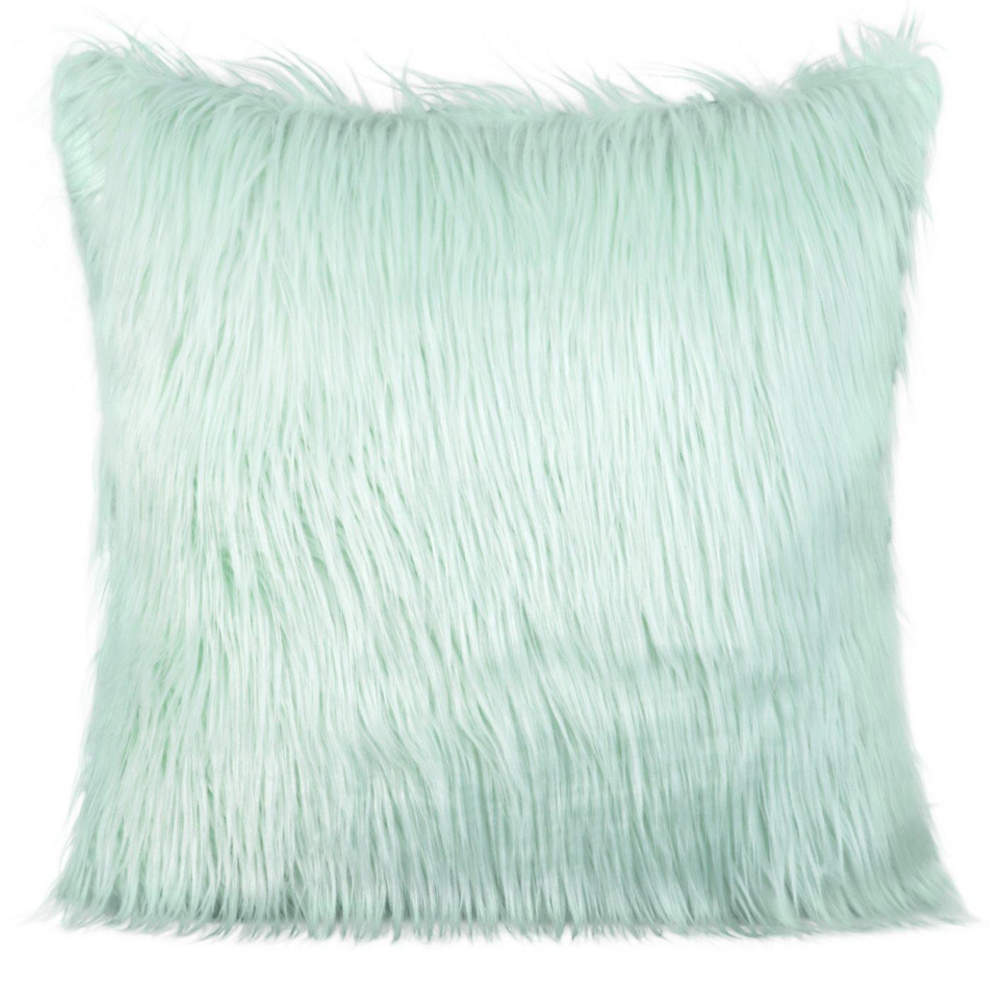 Poszewka na poduszkę futerko jasno miętowa 55 x 55 cm