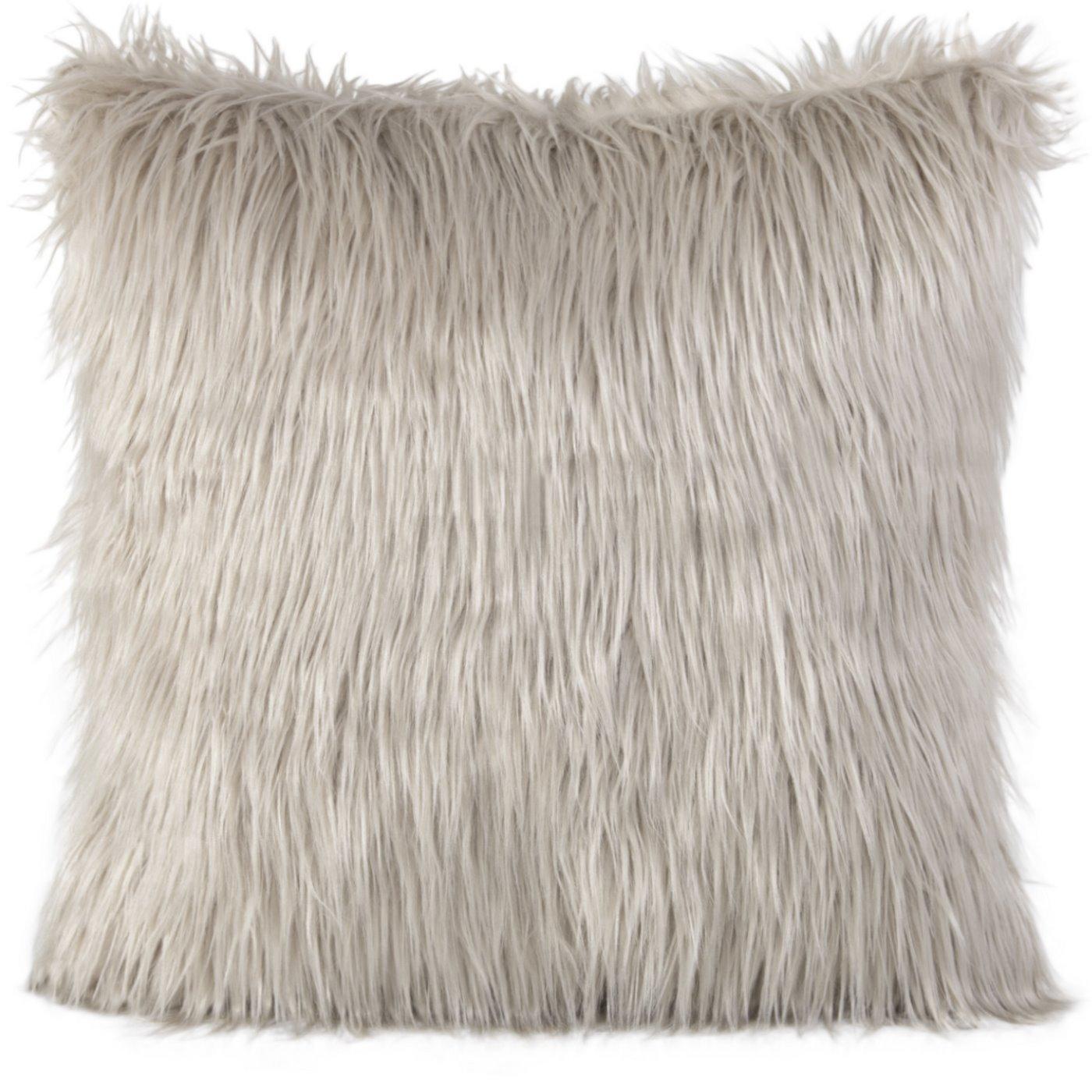 Poszewka na poduszkę futerko jasny brąz 55 x 55 cm