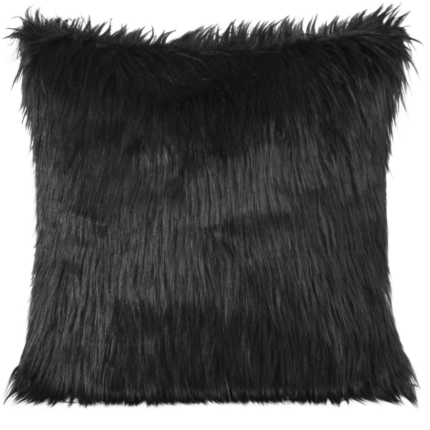 Poszewka na poduszkę futerko czarna 55 x 55 cm