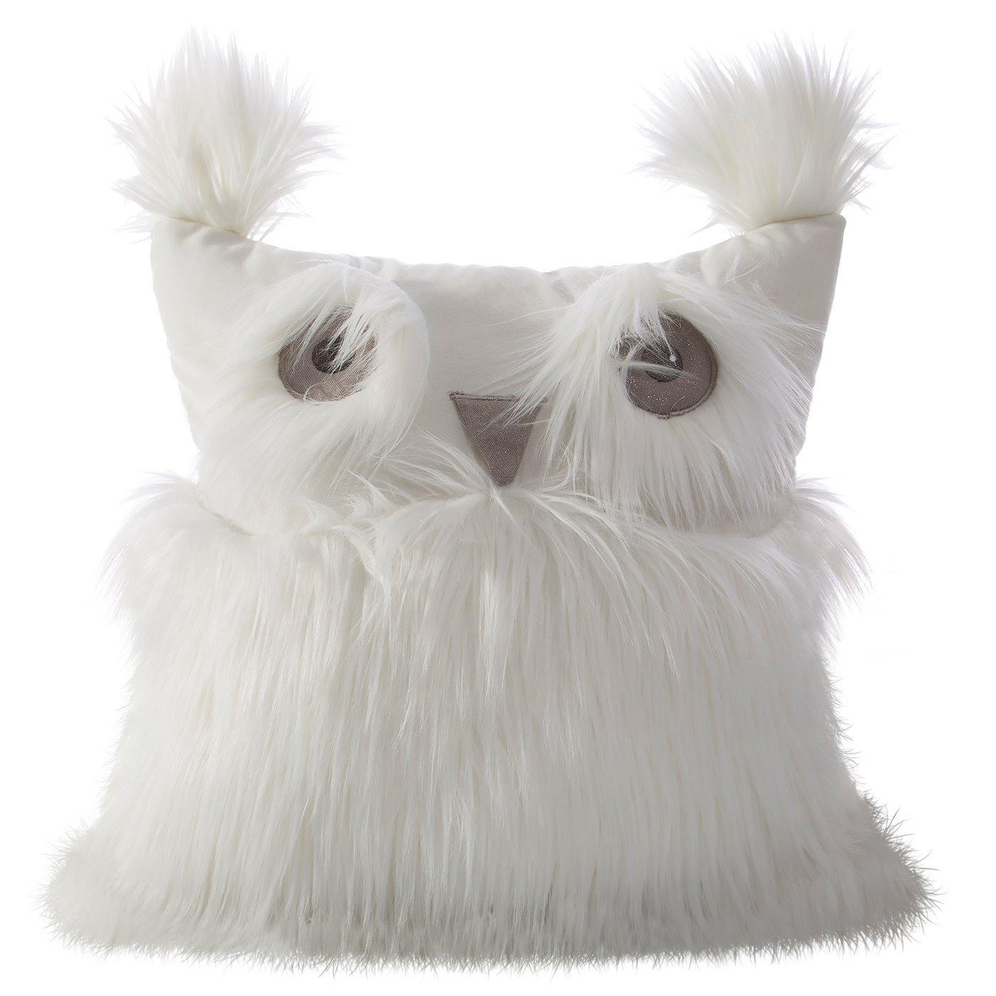 Poszewka na poduszkę 40 x 40 cm w kształcie sowy biała