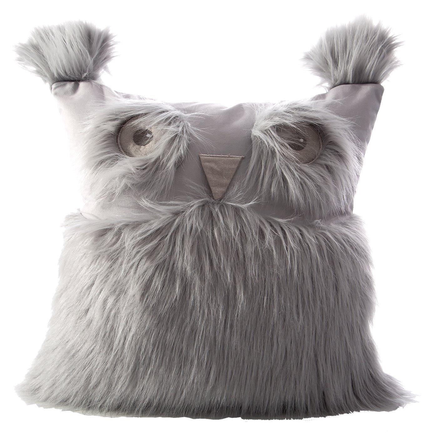 Poszewka na poduszkę 40 x 40 cm w kształcie sowy srebrna