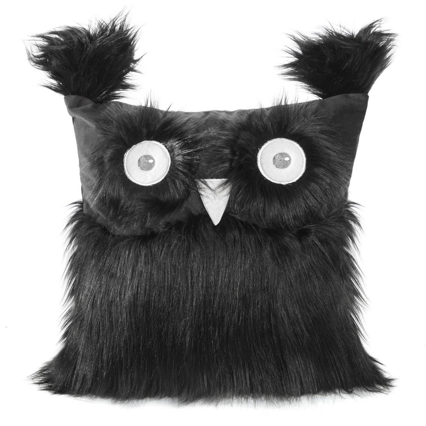 Poszewka na poduszkę 40 x 40 cm w kształcie sowy czarna