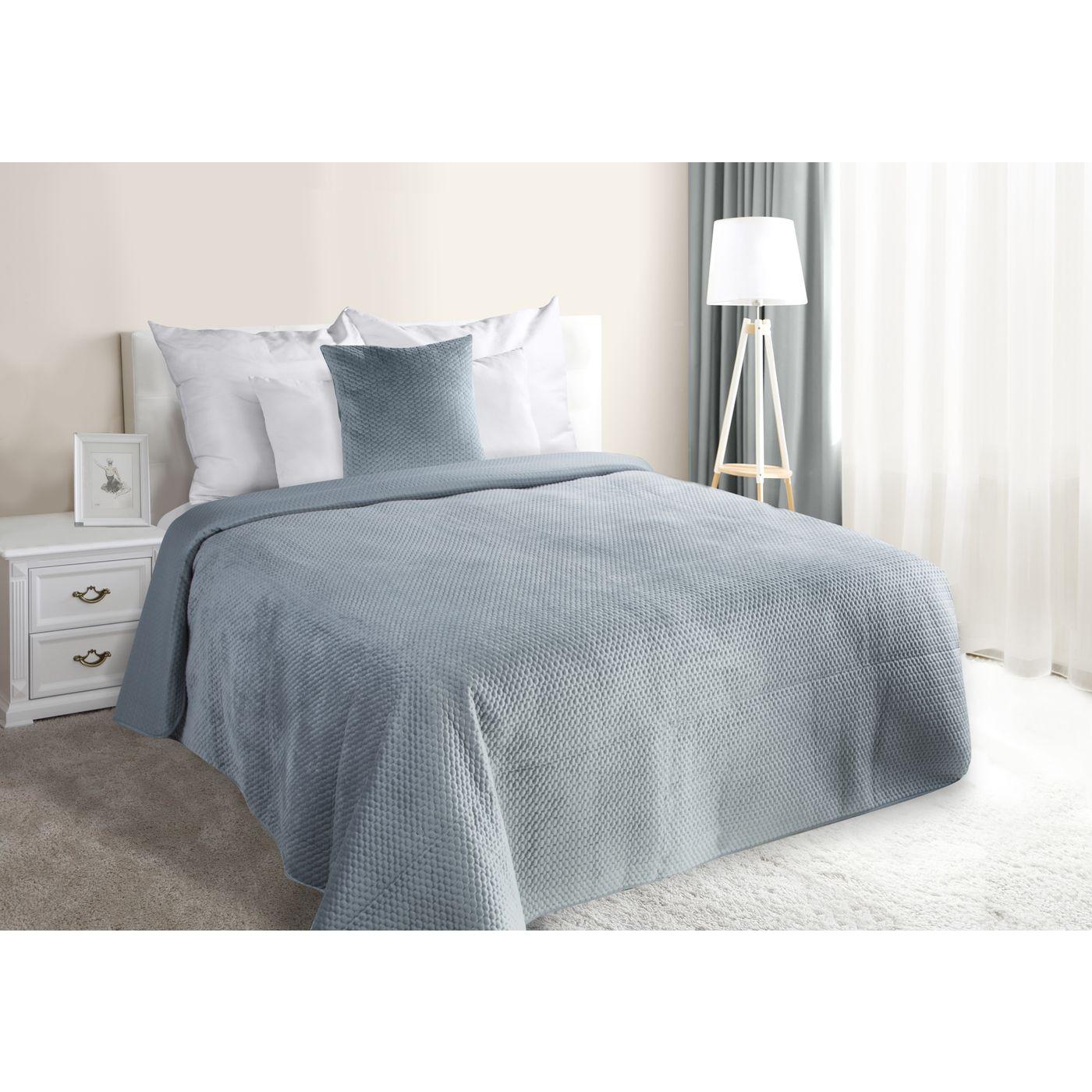 Narzuta na łóżko welwetowa pikowana hotpress 200x220 cm stalowa