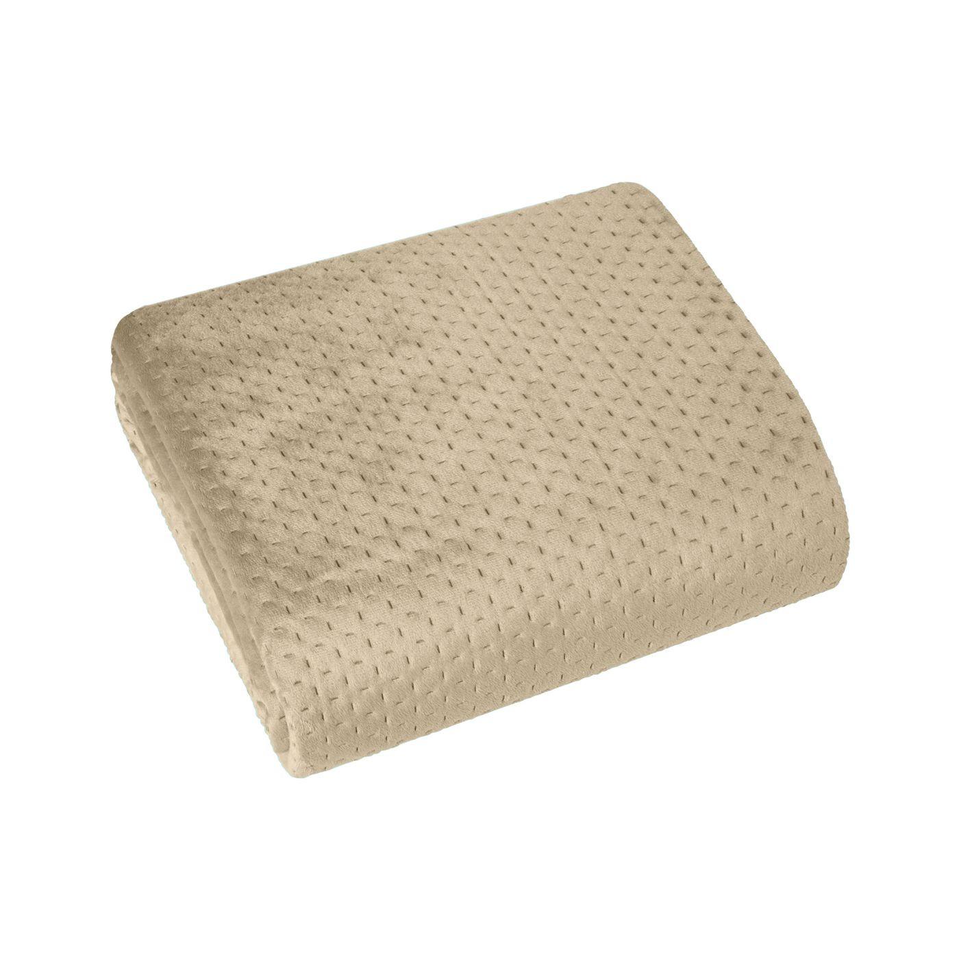 Narzuta na łóżko welwetowa pikowana hotpress 200x220 cm beżowa