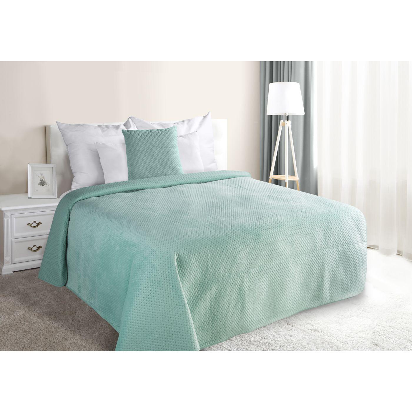 Narzuta na łóżko welwetowa pikowana hotpress 200x220 cm miętowa