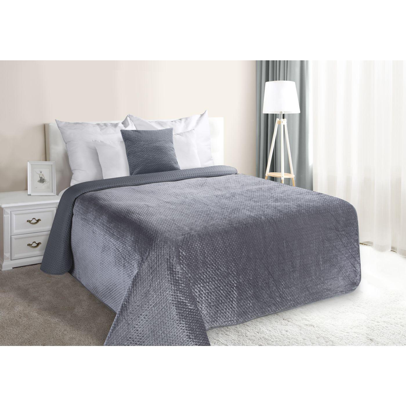 Narzuta na łóżko welwetowa pikowana hotpress 170x210 cm grafitowa