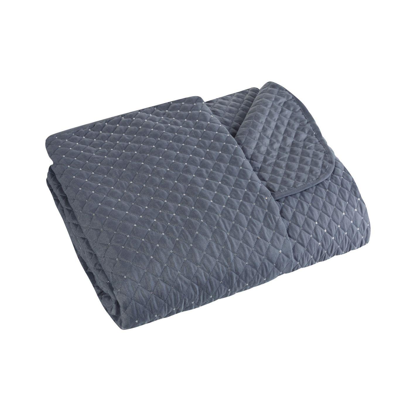 Narzuta na łóżko miękka zdobiona cekinami 220x240 cm stalowa