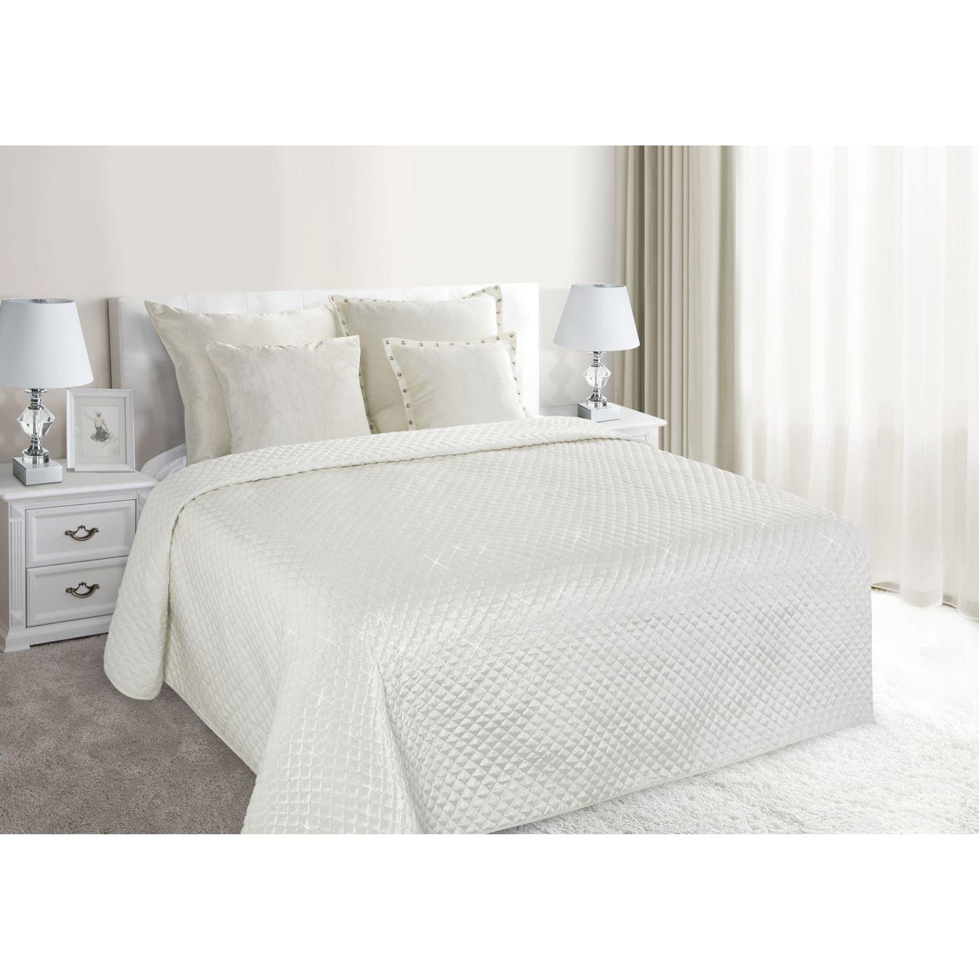 Narzuta na łóżko pikowana zdobiona cekinami 170x210 cm kremowa