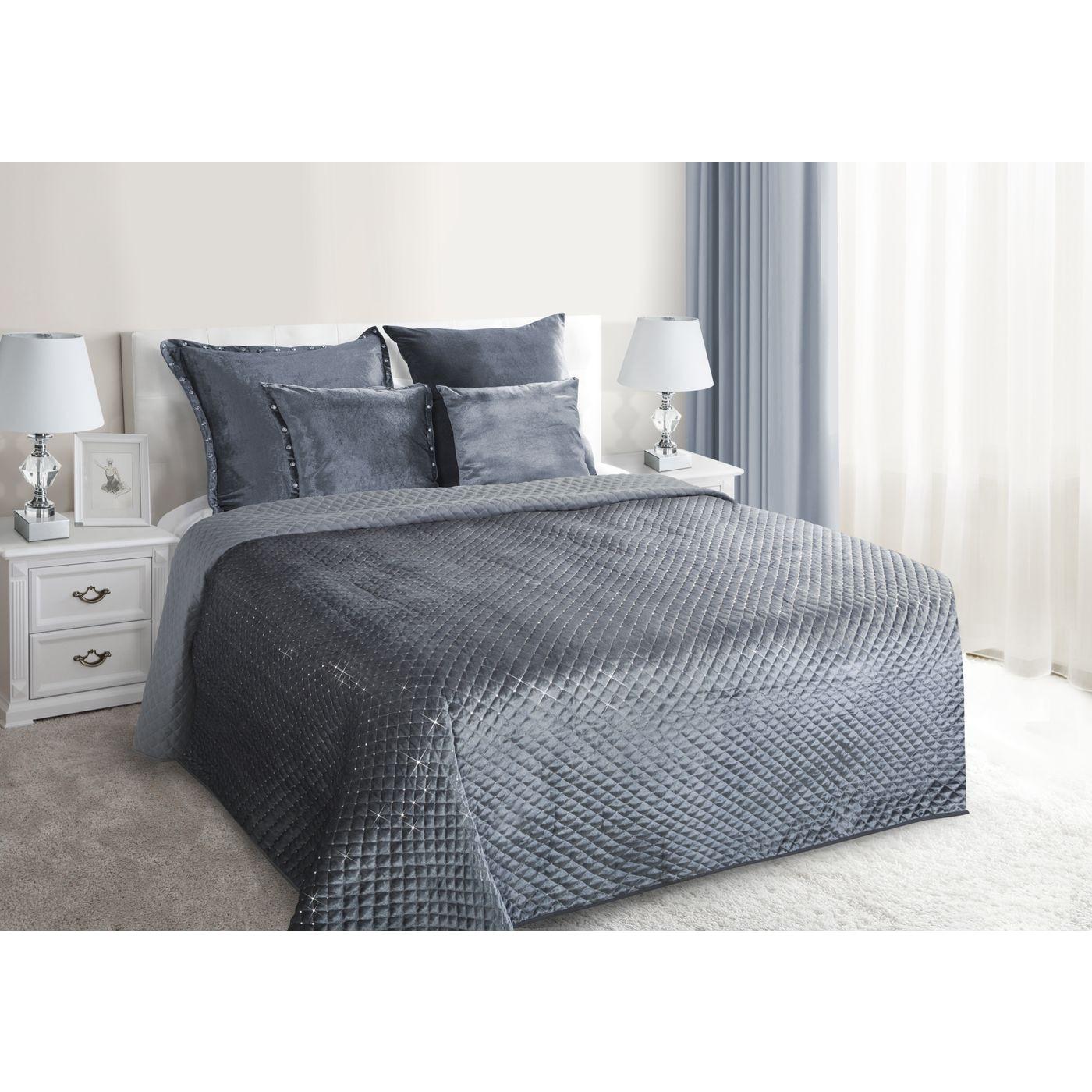 Narzuta na łóżko pikowana zdobiona cekinami 170x210 cm stalowa