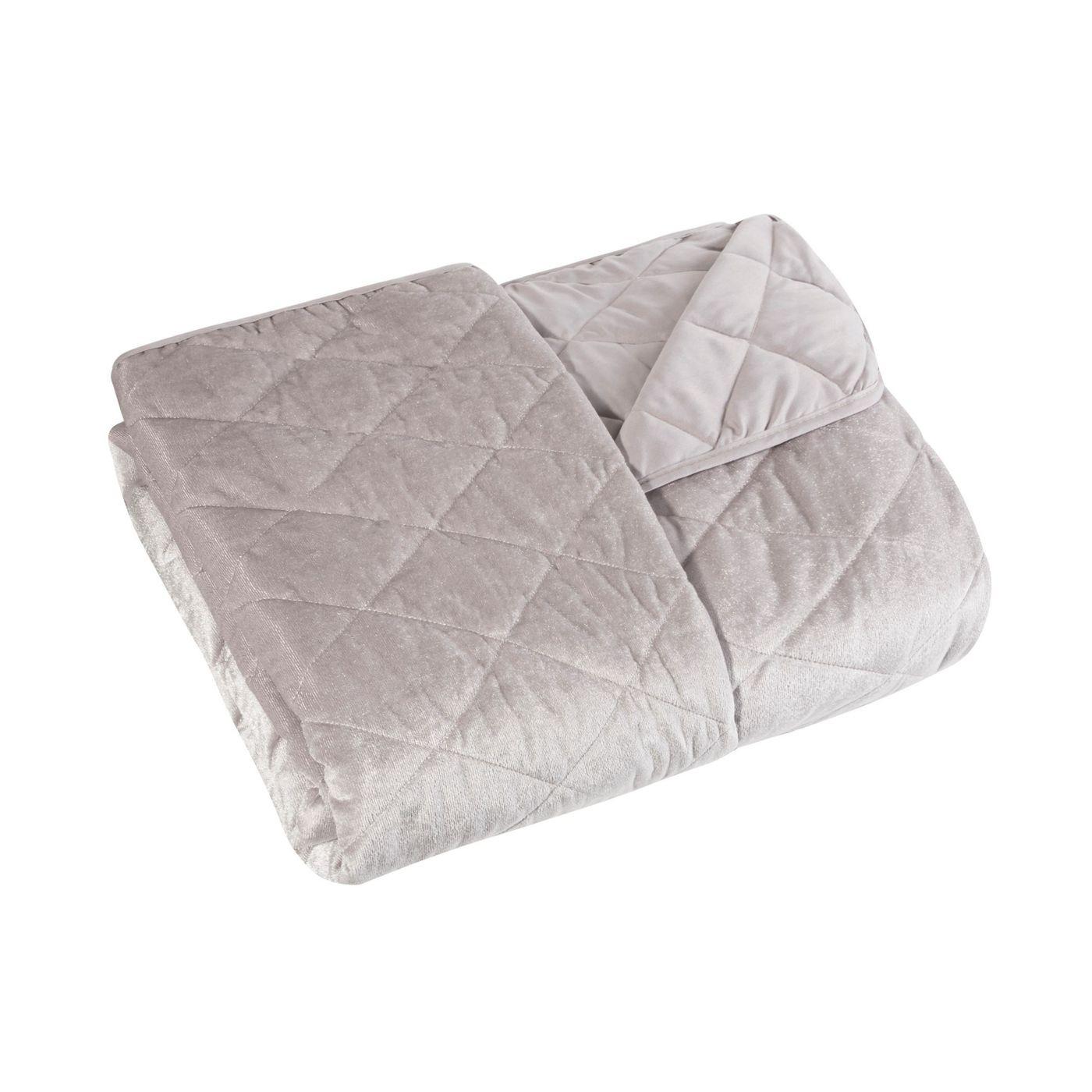Narzuta na łóżko welwetowa pikowana 200x220 cm różowa
