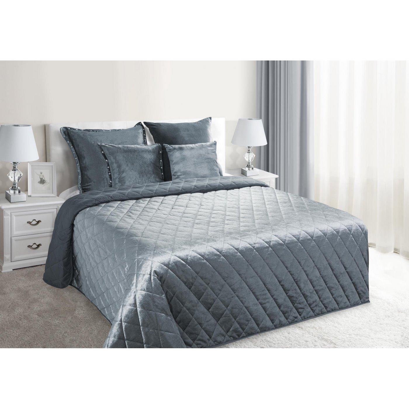 Narzuta na łóżko welwetowa pikowana 200x220 cm stalowa