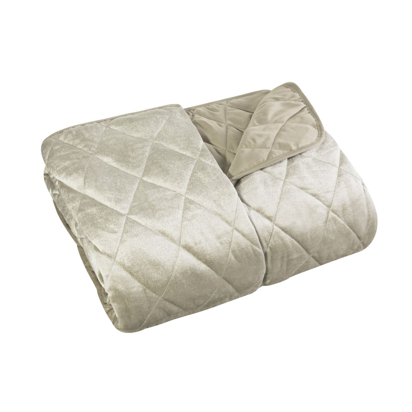 Narzuta na łóżko welwetowa pikowana 170x210 cm beżowa