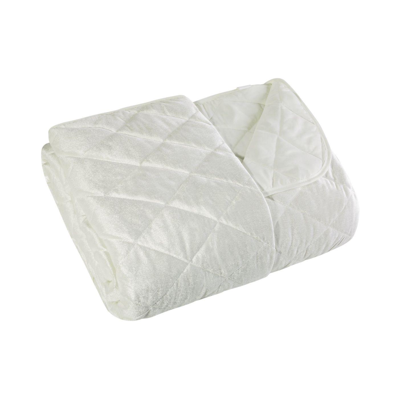 Narzuta na łóżko welwetowa pikowana 170x210 cm kremowa