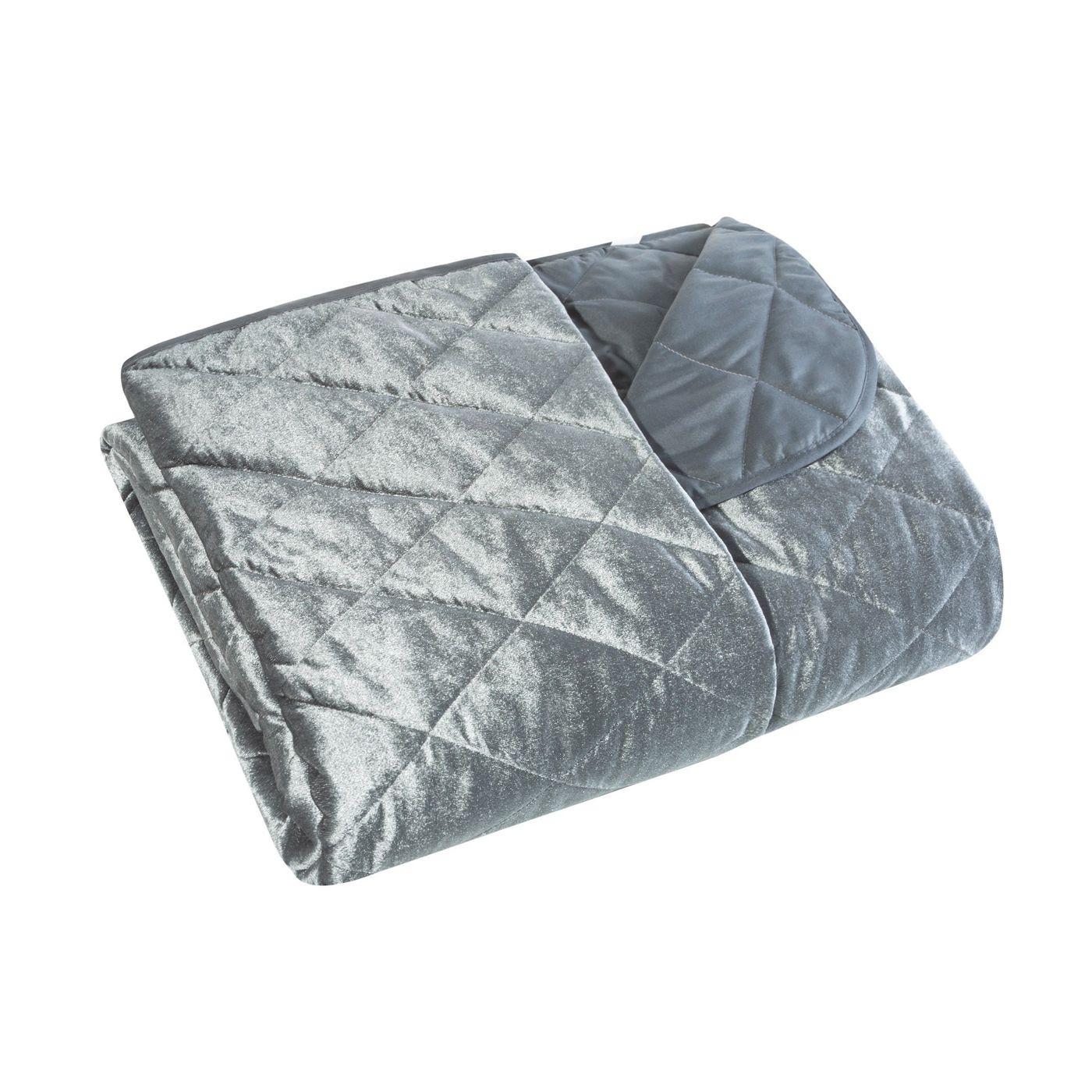 Narzuta na łóżko welwetowa pikowana 170x210 cm stalowa